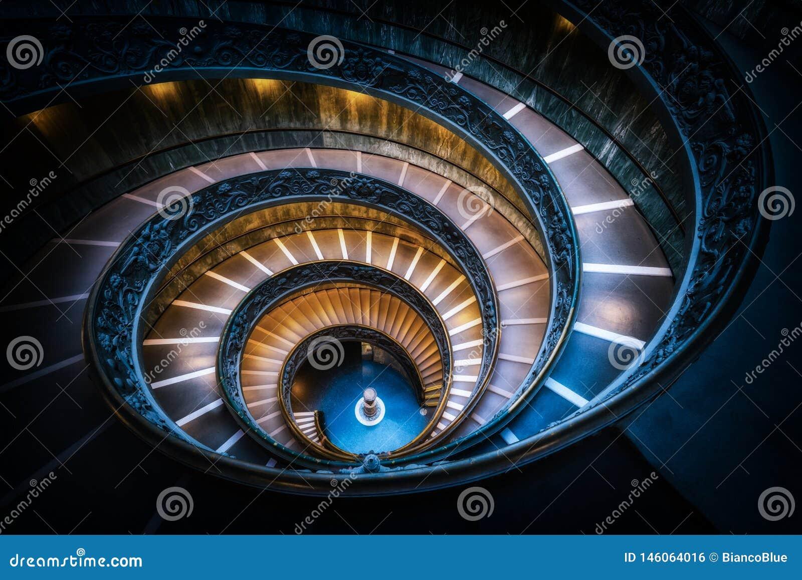 楼梯在梵蒂冈博物馆,梵蒂冈,罗马,意大利