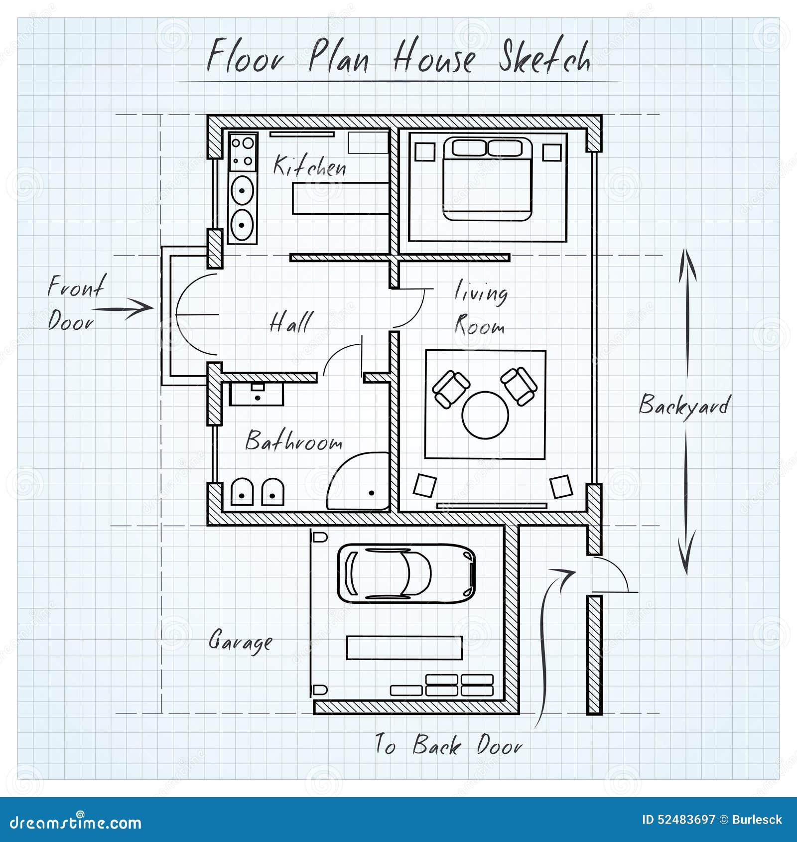 楼面布置图房子剪影 向量例证 插画 包括有 布琼布拉 顽皮地 停车库 家具 草拟 拱道 内部