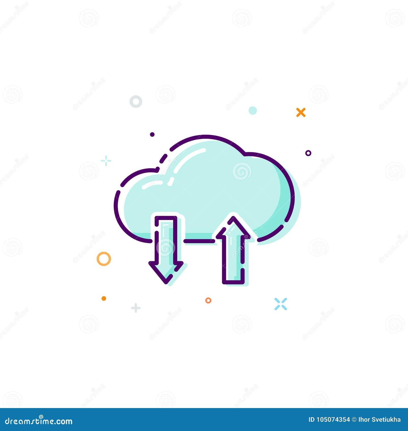 概念云彩象 稀薄的线平的设计元素 数据商店概念 在空白背景查出的向量例证