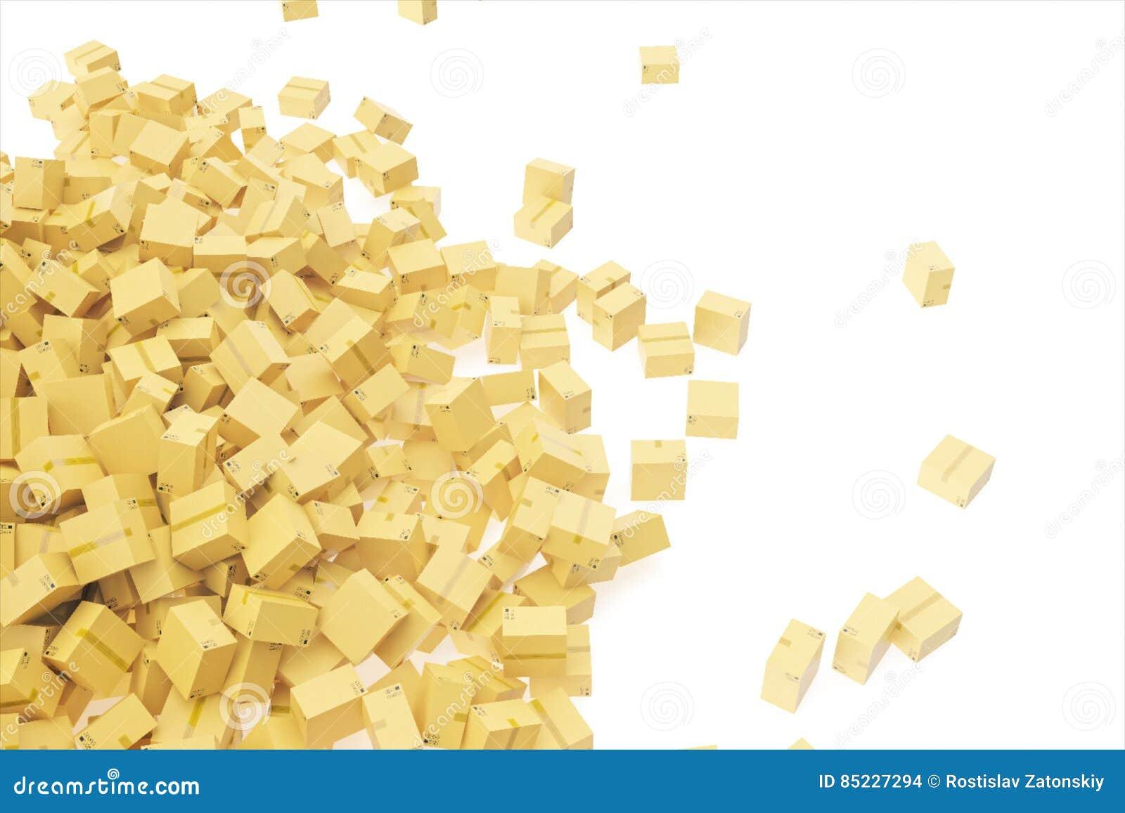 概念发运查出的白色 所有背景把棕色纸板颜色装箱 文本的空间 3d翻译