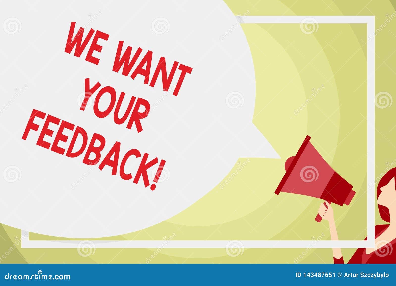 概念性手文字陈列我们想要您的反馈 企业照片指定的文本批评某人说可以做为