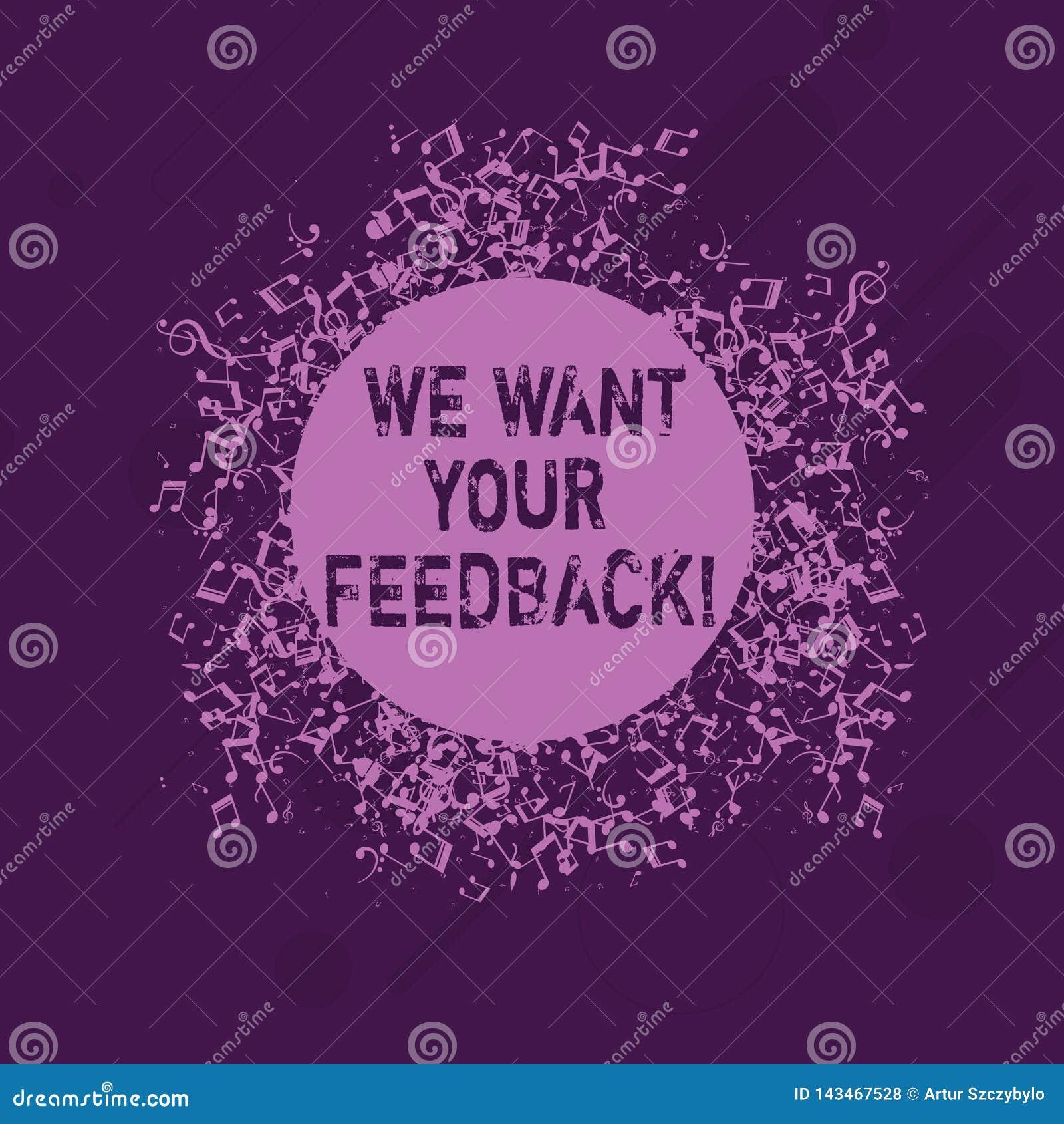 概念性手文字陈列我们想要您的反馈 指定的企业照片陈列的批评某人说可以做