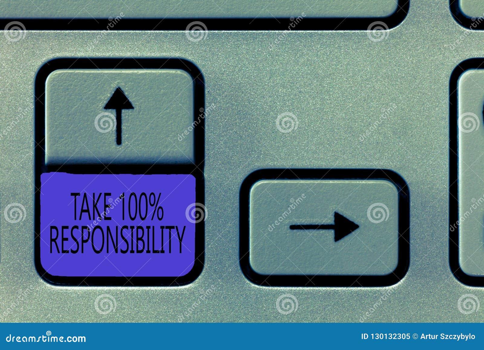 概念性手文字陈列承担100责任 企业照片陈列是充分地对您的行动负有责任
