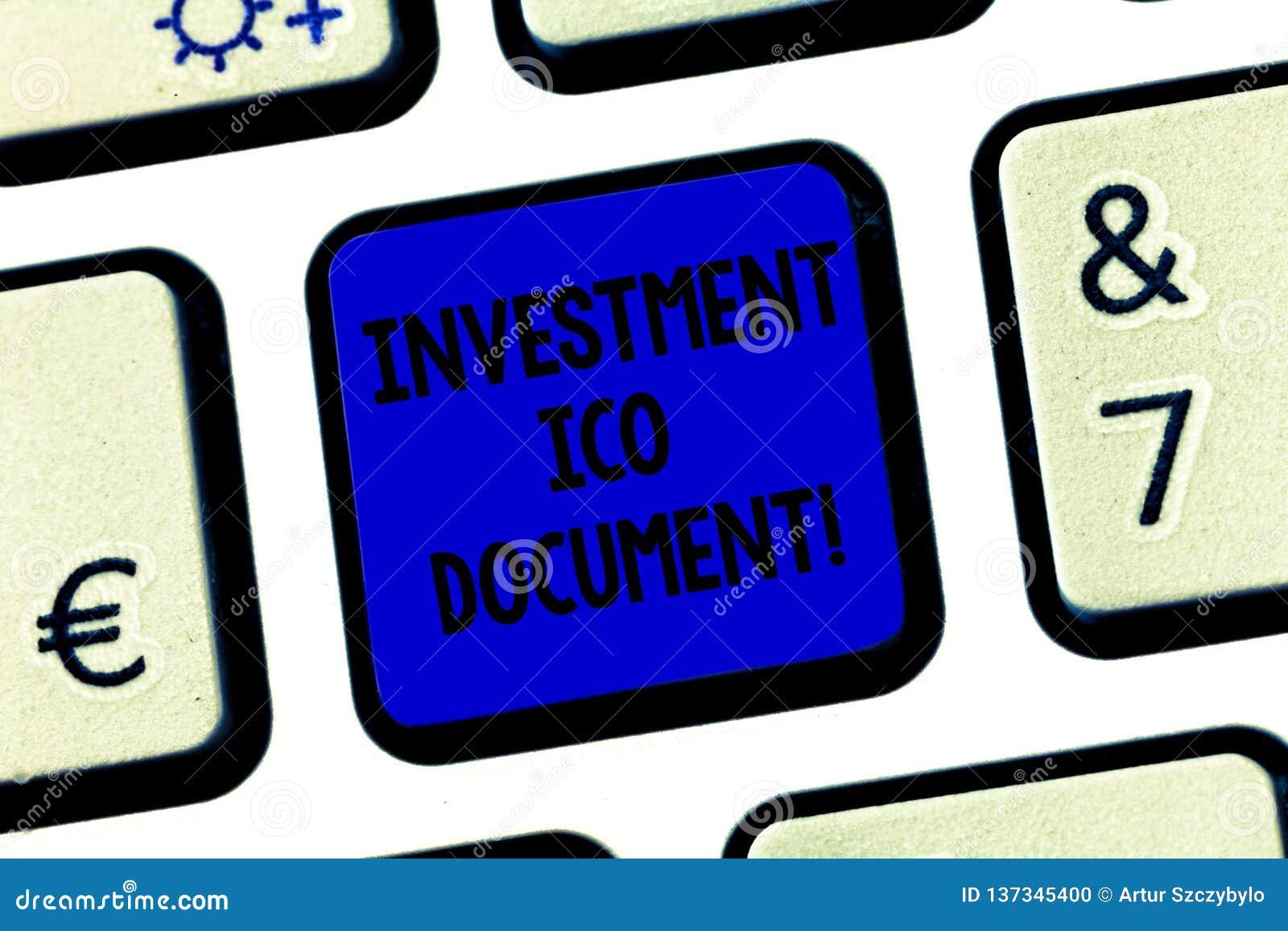 概念性手文字陈列投资Ico文件 企业照片陈述在a后的技巧的文本文件