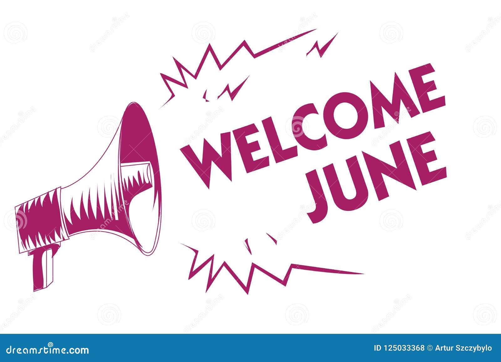 概念性手文字陈列欢迎6月 企业照片陈列的日历第六个月二季度三十几天问候