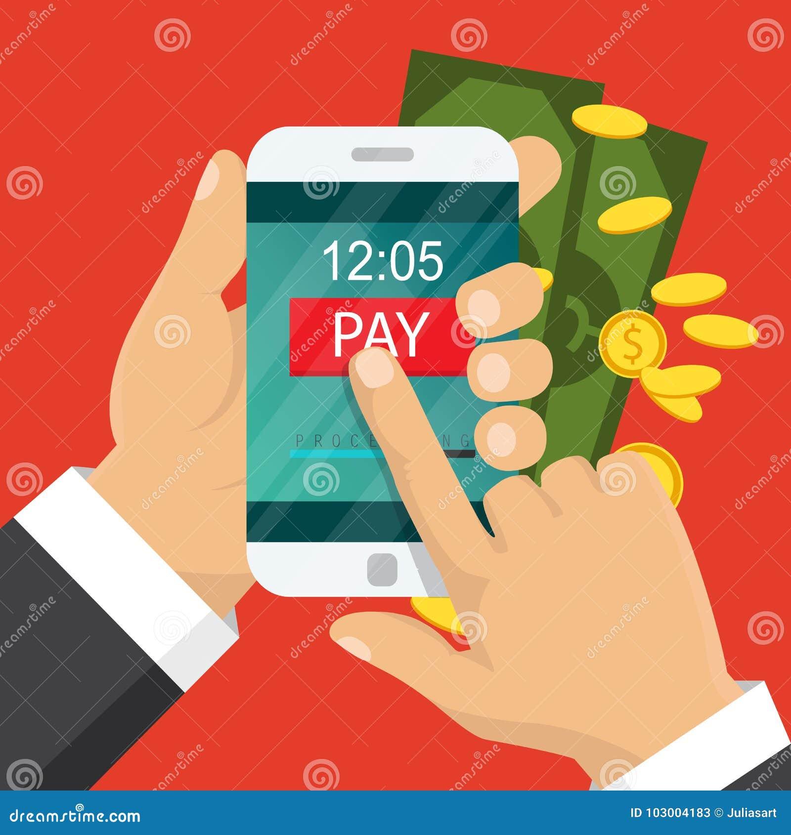 概念移动现款支付电话 现有量藏品电话 智能手机无线汇款 平的设计 也corel凹道例证向量
