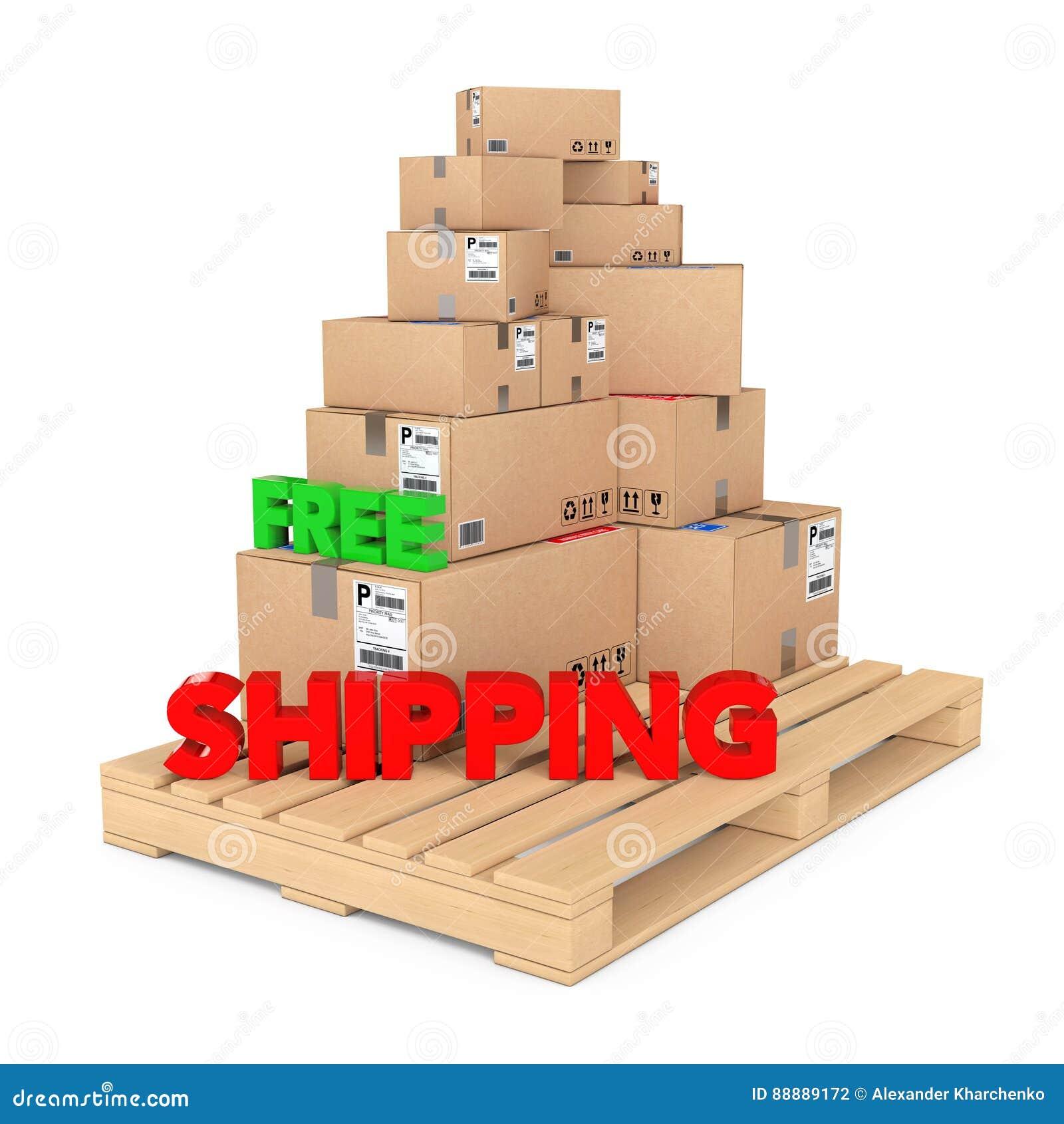 概念释放发运 在木调色板的纸板箱有Fr的