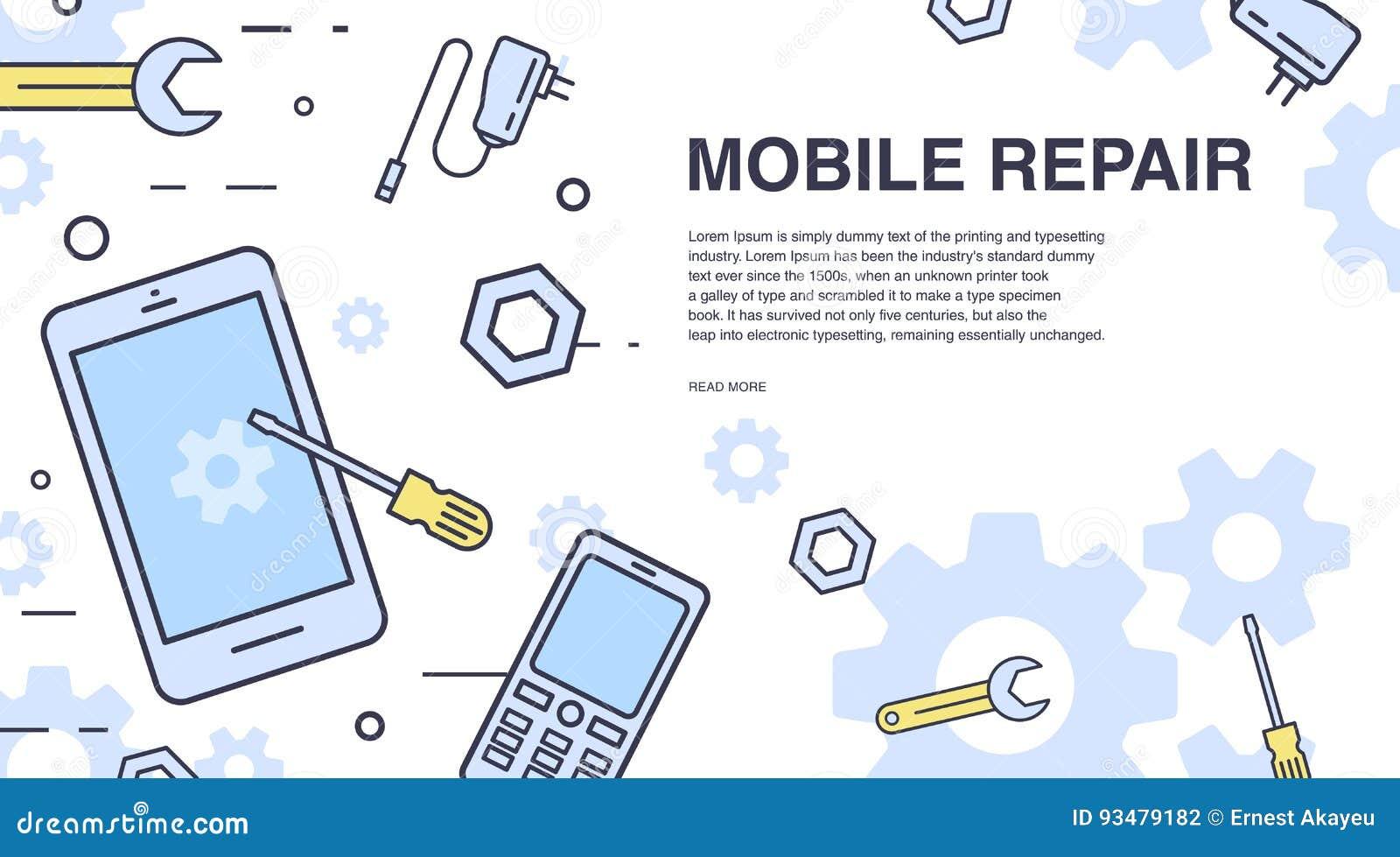 概念移动电话维修服务 与智能手机和工具的水平的横幅 为电子技术服务 五颜六色的向量