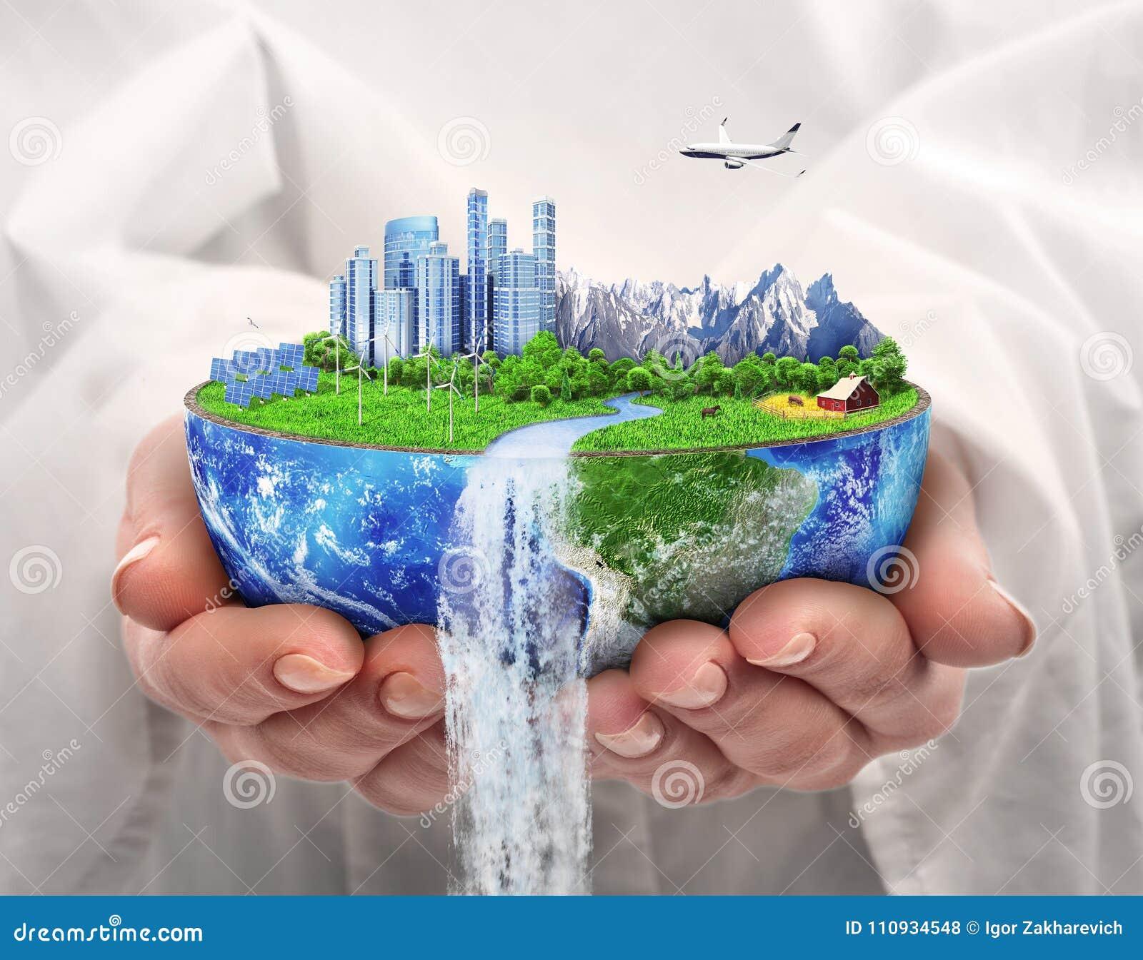 概念eco和平鸽子 未来城市 太阳能镇,风能