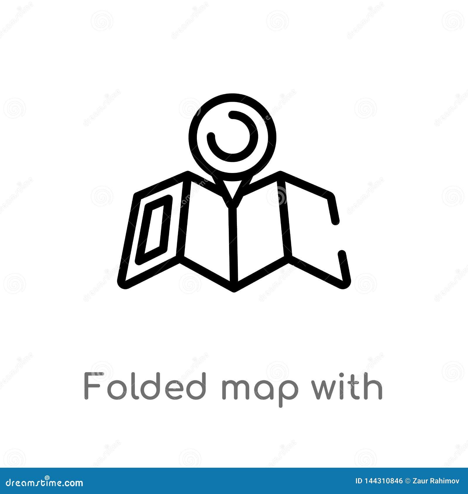 概述与占位符传染媒介象的被折叠的地图 E r