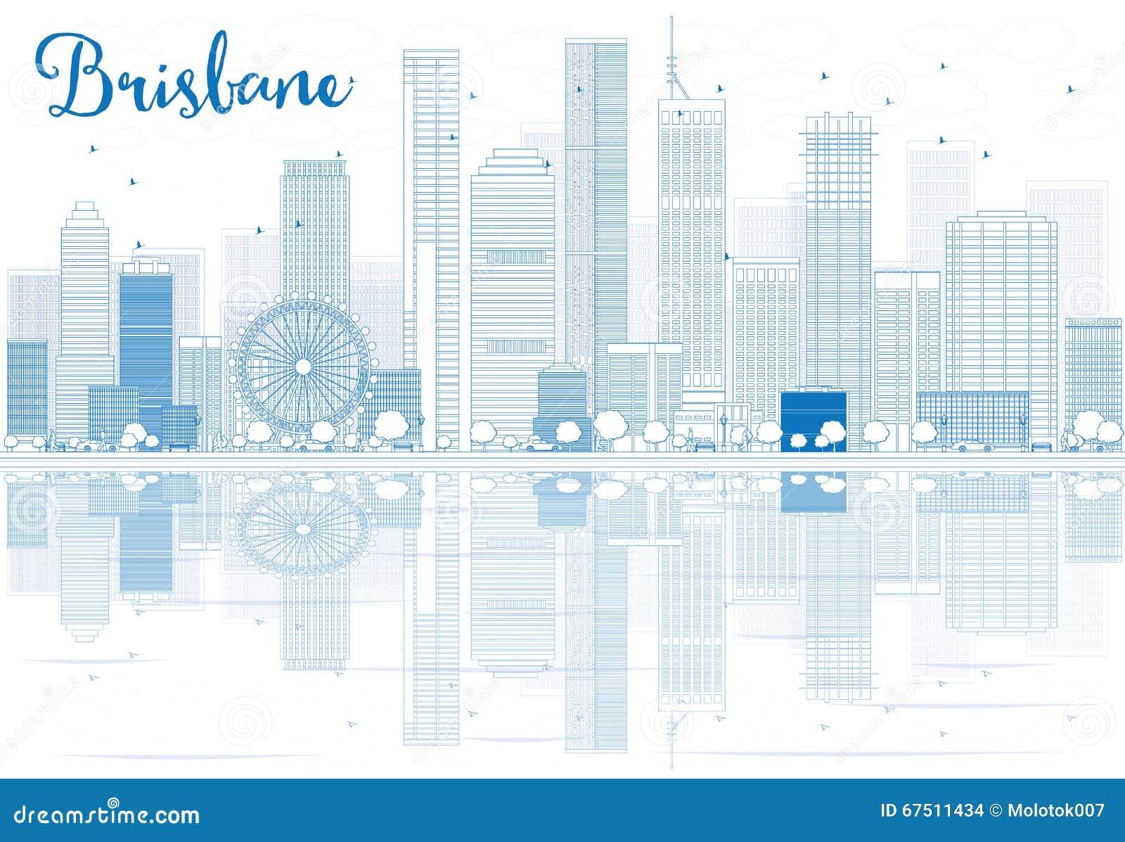 概述与蓝色大厦和反射的布里斯班地平线