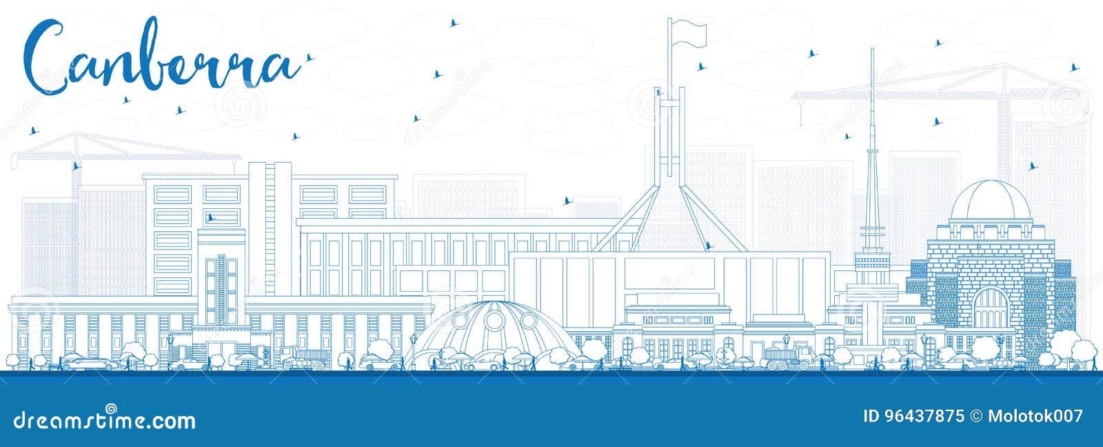 概述与蓝色大厦的堪培拉地平线