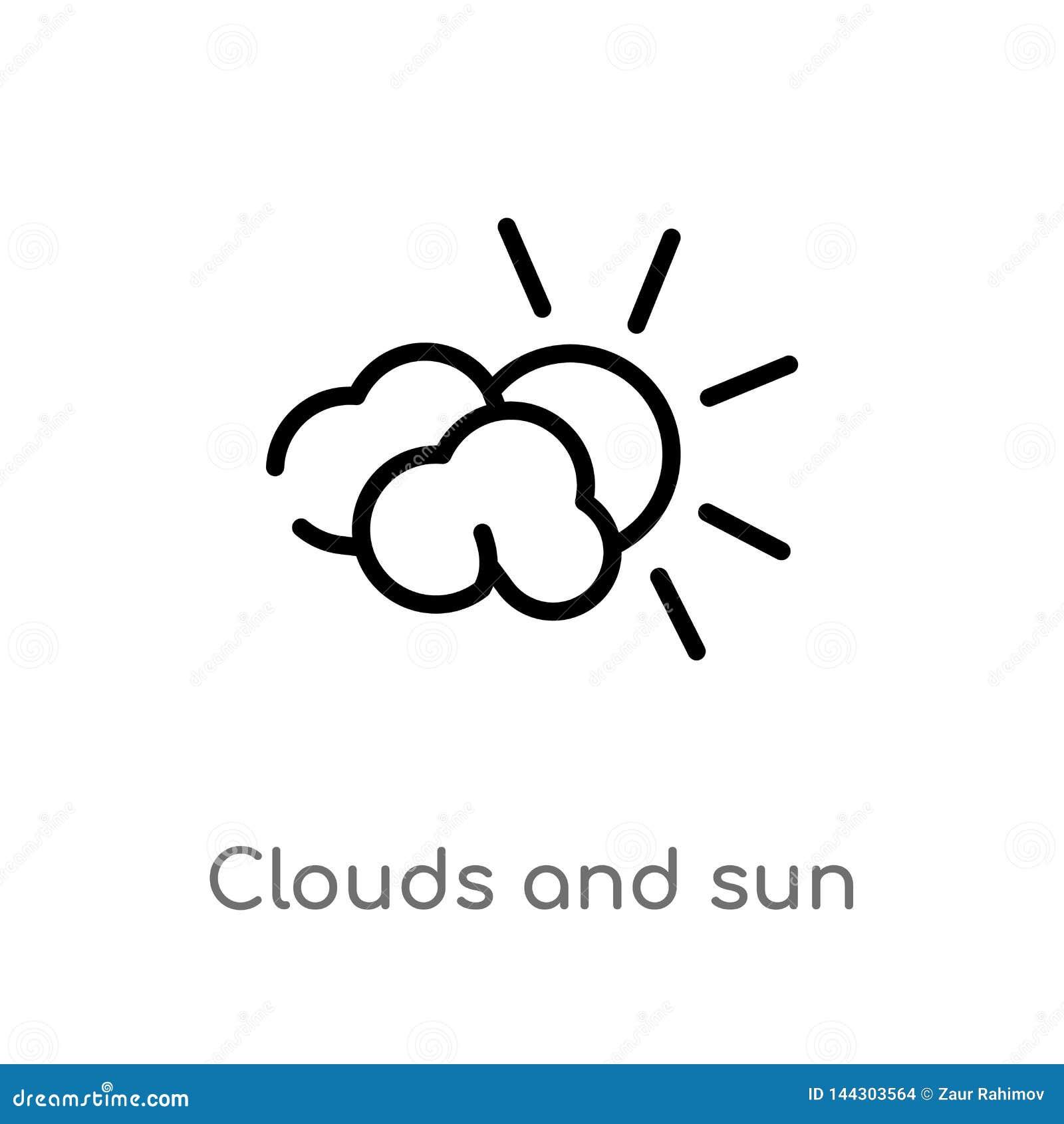 概述云彩和太阳传染媒介象 被隔绝的黑简单的从天气概念的线元例证 编辑可能的传染媒介冲程