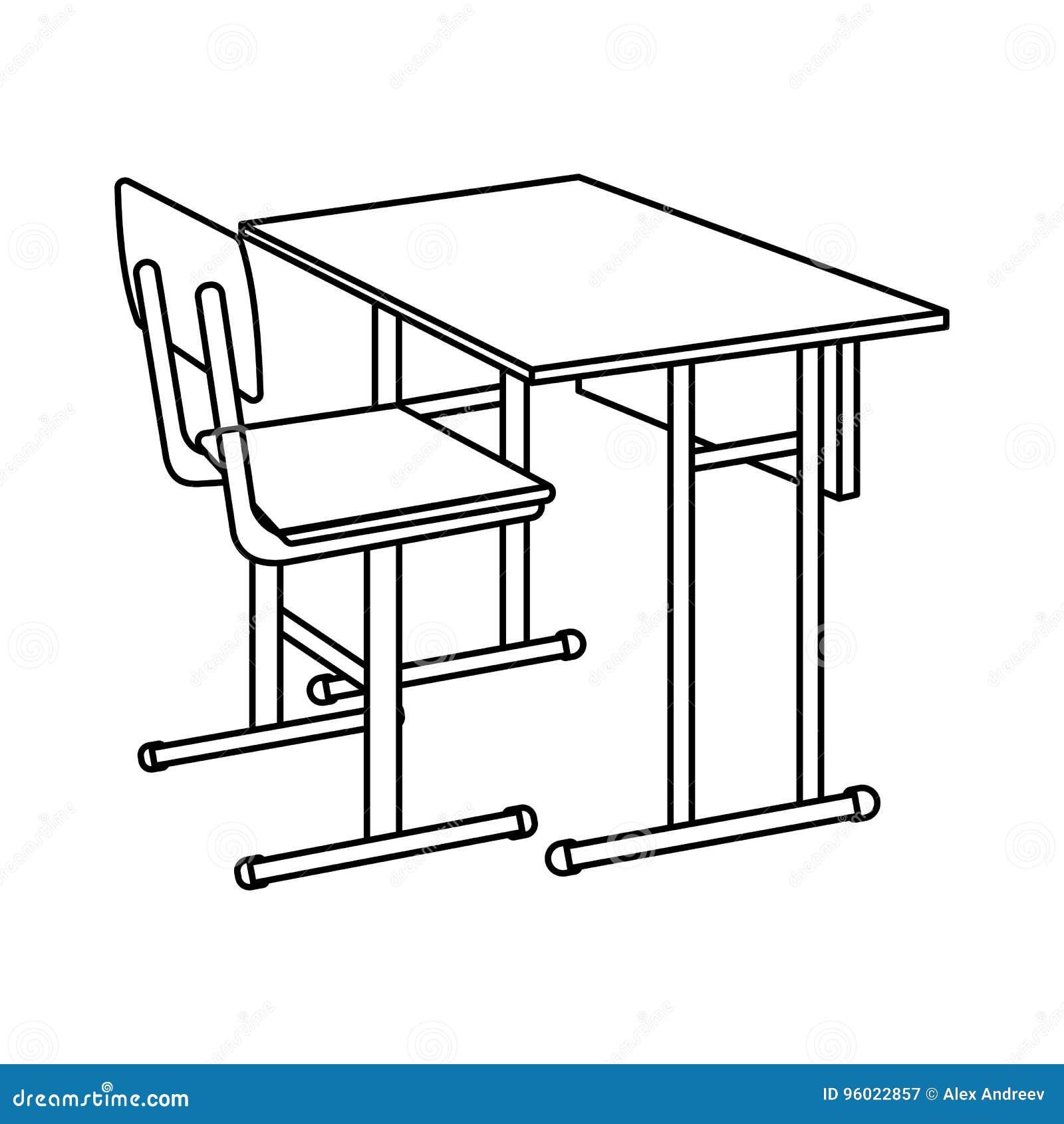 概述学校书桌象 查出的向量例证