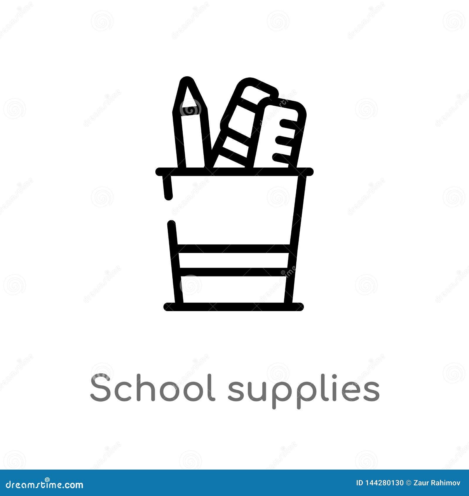 概述学校用品传染媒介象 被隔绝的黑简单的从教育概念的线元例证 编辑可能的传染媒介