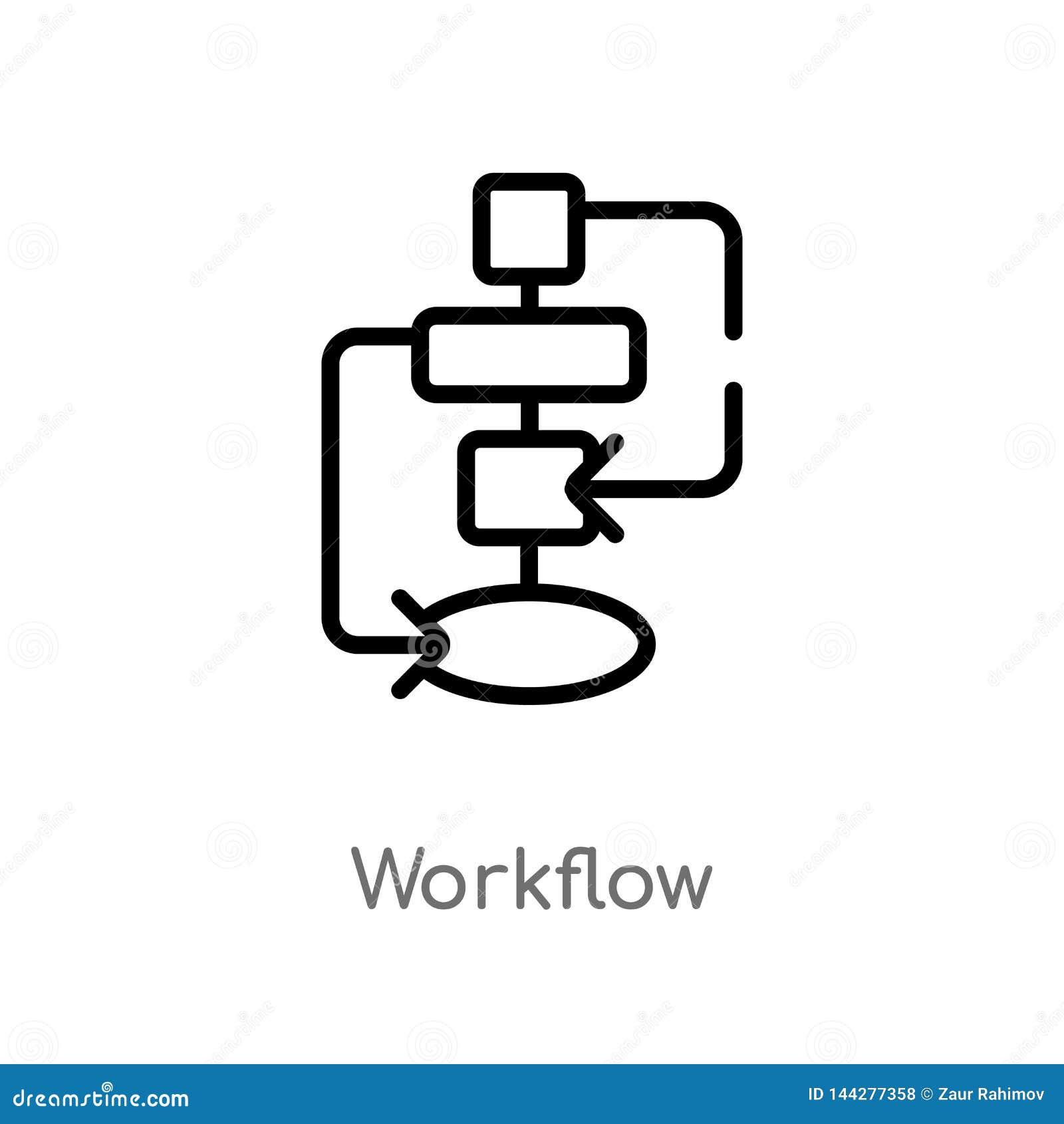 概述工作流传染媒介象 被隔绝的黑简单的从创造性的pocess概念的线元例证 r