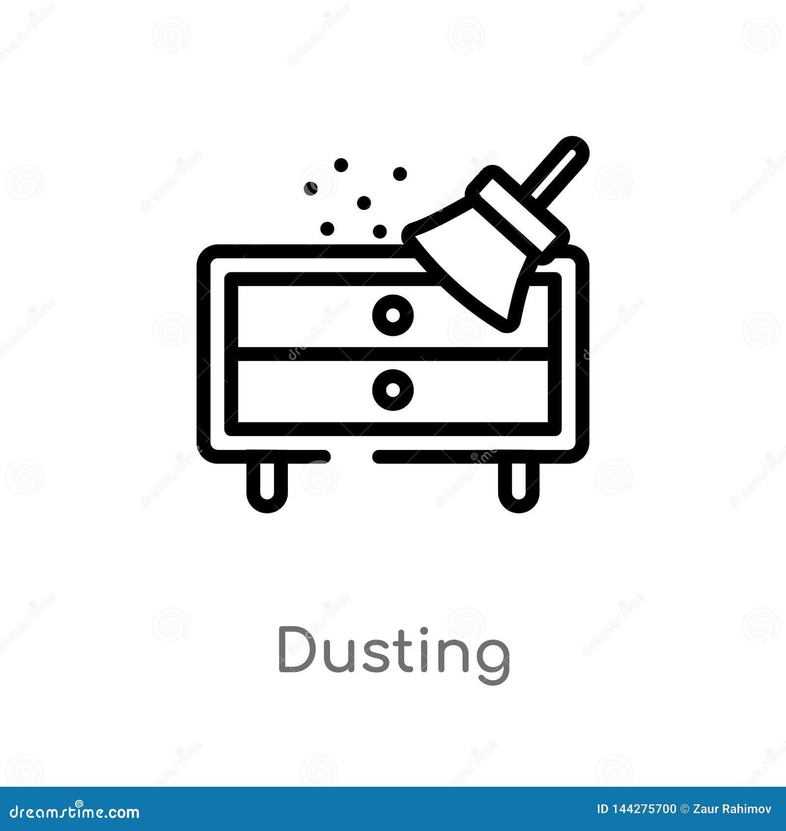 概述打扫灰尘传染媒介象 被隔绝的黑简单的从清洗的概念的线元例证 编辑可能的传染媒介冲程打扫灰尘