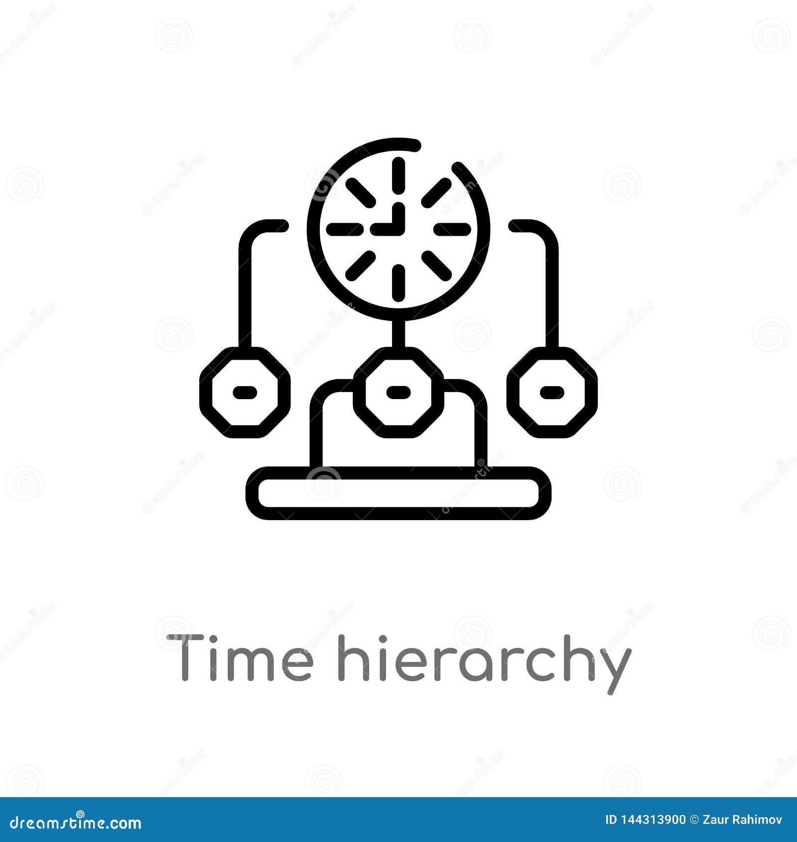 概述时间层次结构传染媒介象 被隔绝的黑简单的从生产力概念的线元例证 E