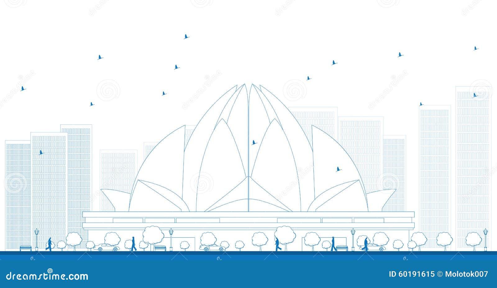 概述莲花寺庙,位于新德里,印度