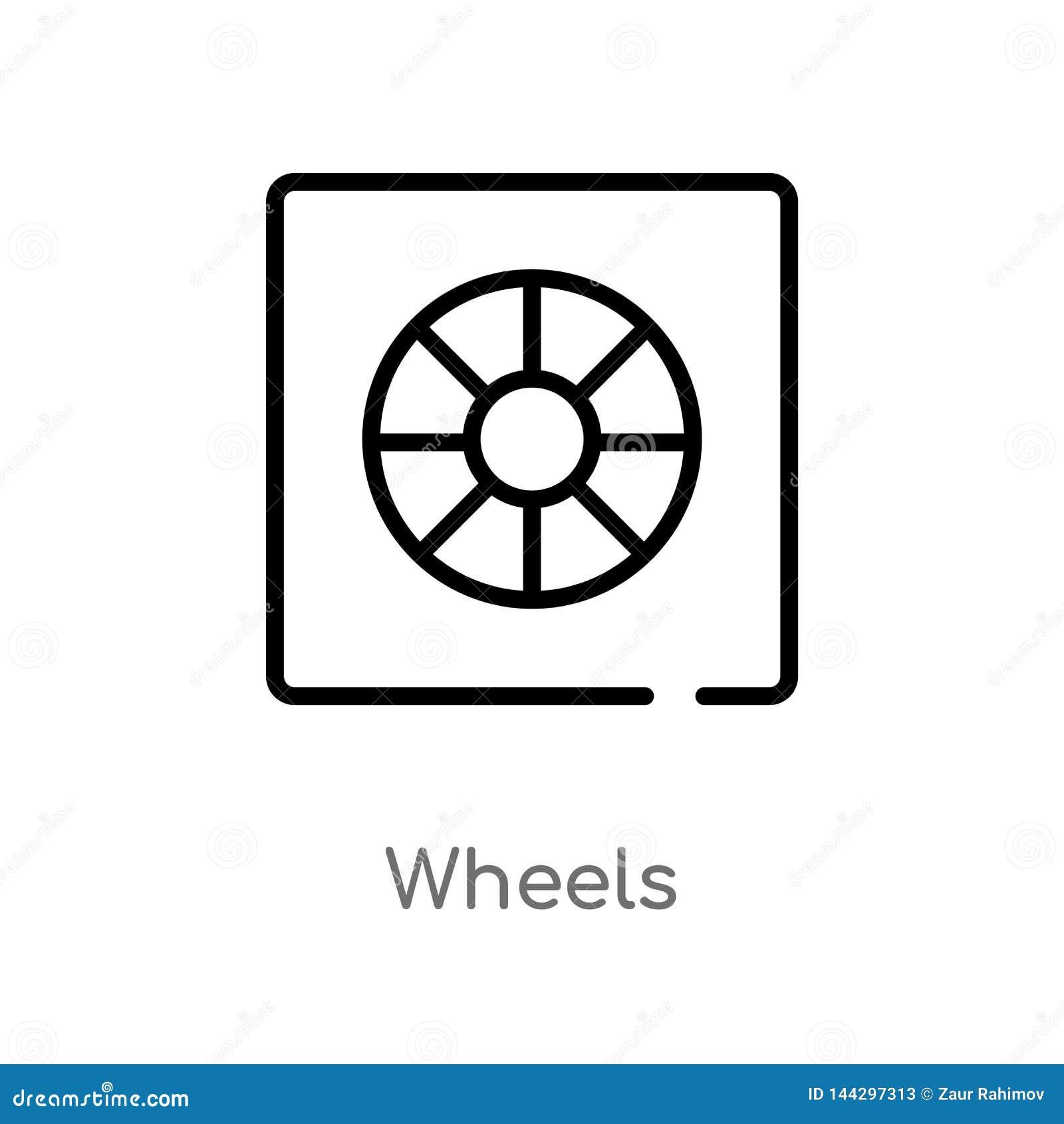 概述轮子导航象 被隔绝的黑简单的从用户界面概念的线元例证 编辑可能的传染媒介冲程