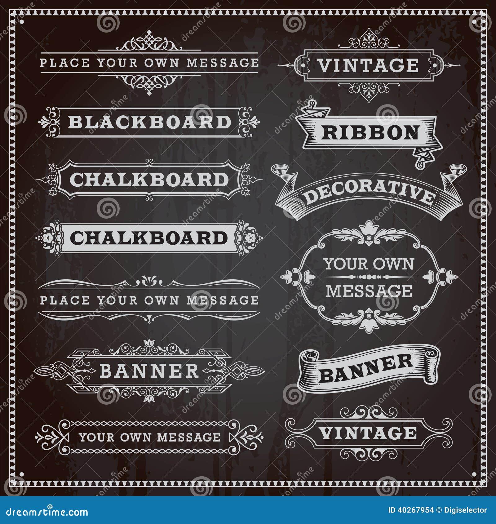 横幅、框架和丝带,黑板样式