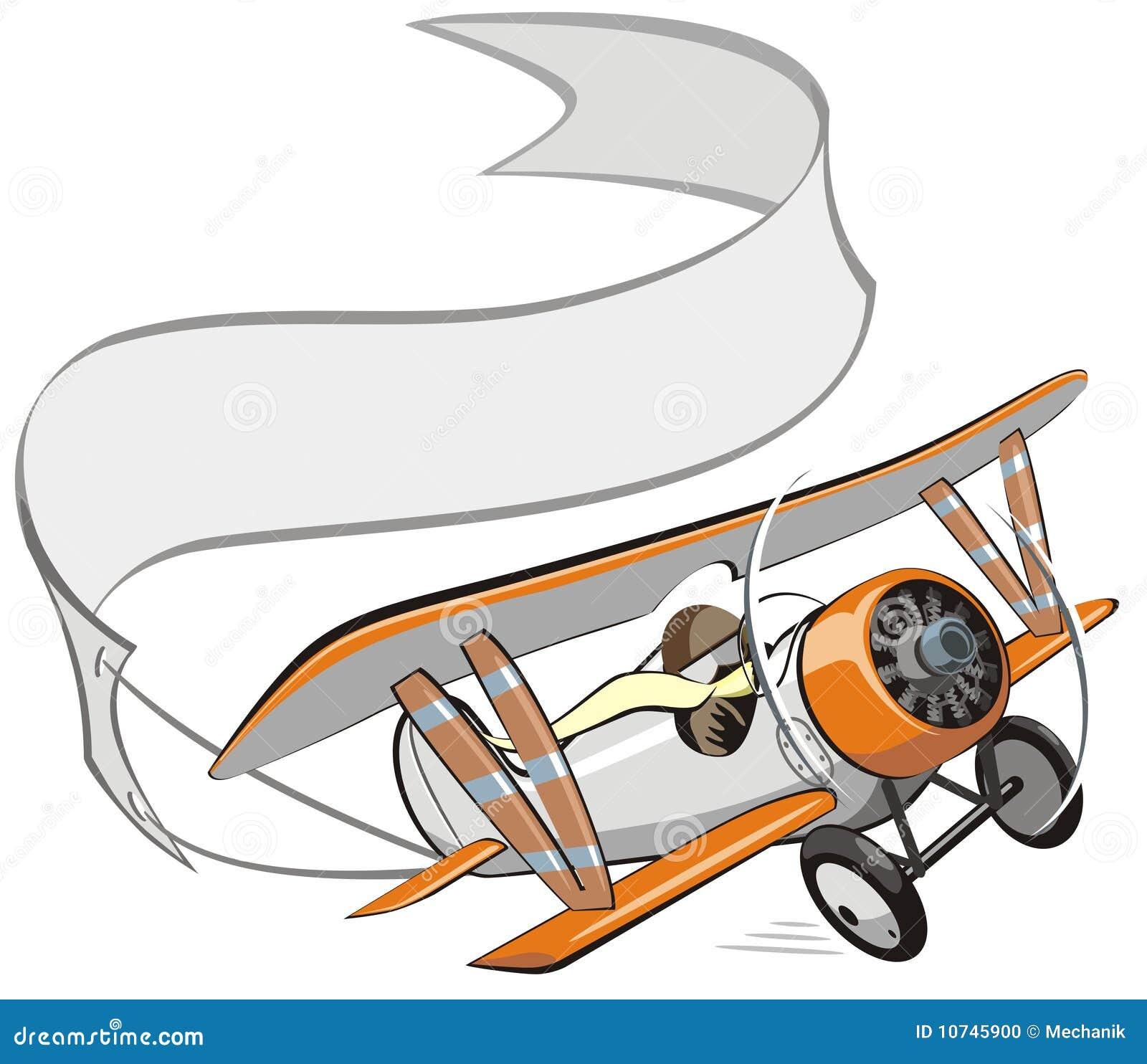 横幅双翼飞机动画片向量