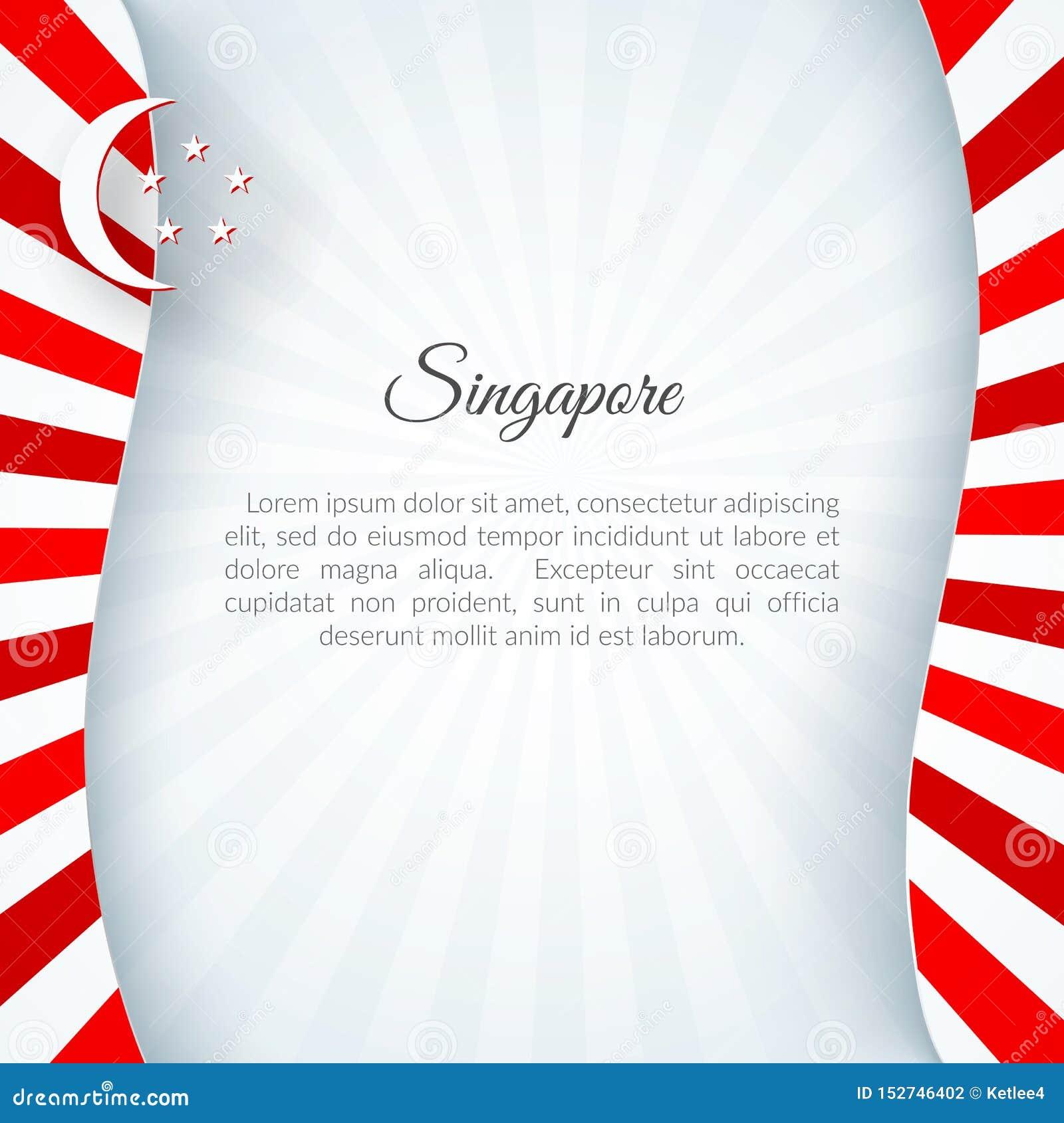 横幅在一个白色背景弯曲的样式红线的新加坡旗子有名片的文本新加坡爱国背景
