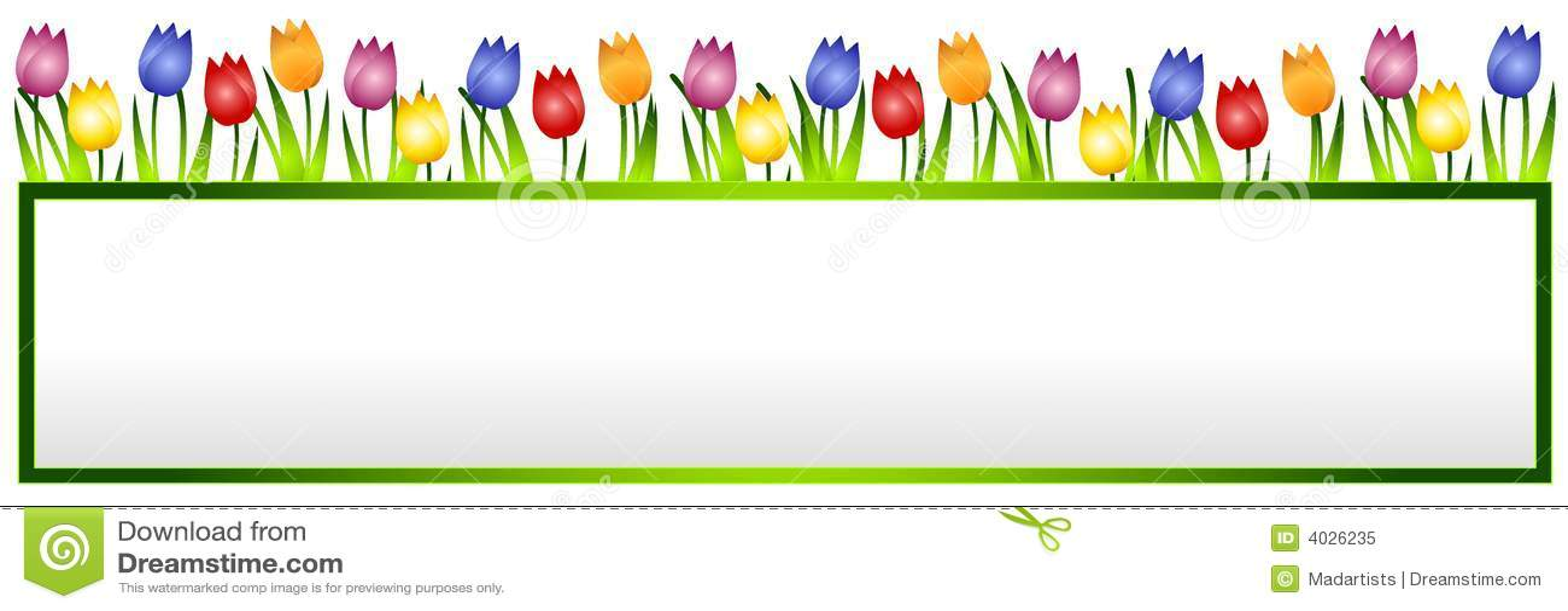 横幅花徽标春天郁金香
