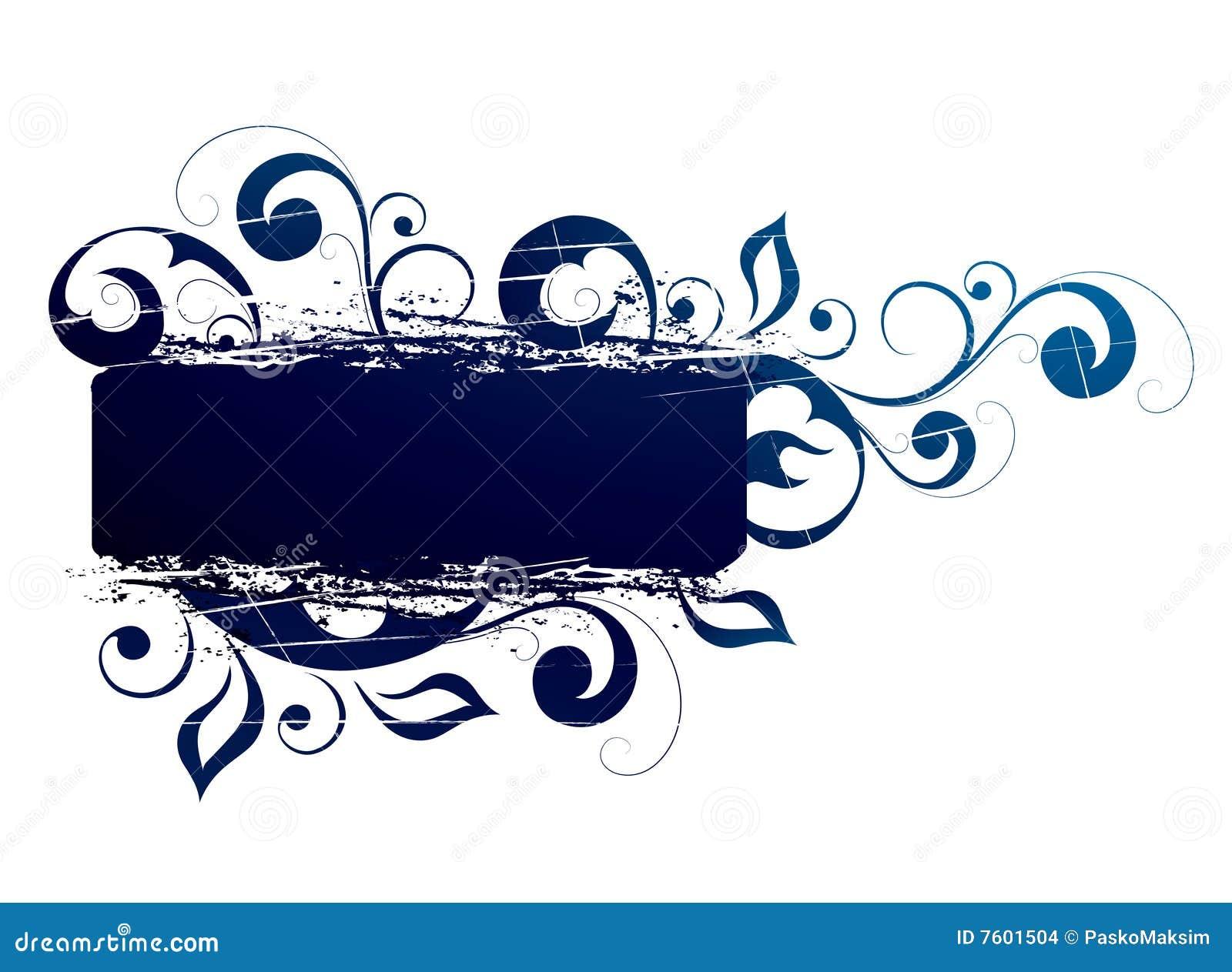 横幅蓝色花卉