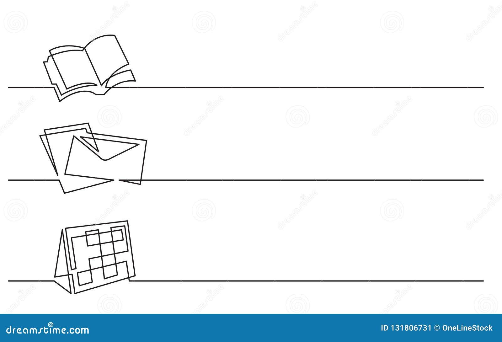 横幅设计-实线企业象图画:组织者,信件,日历