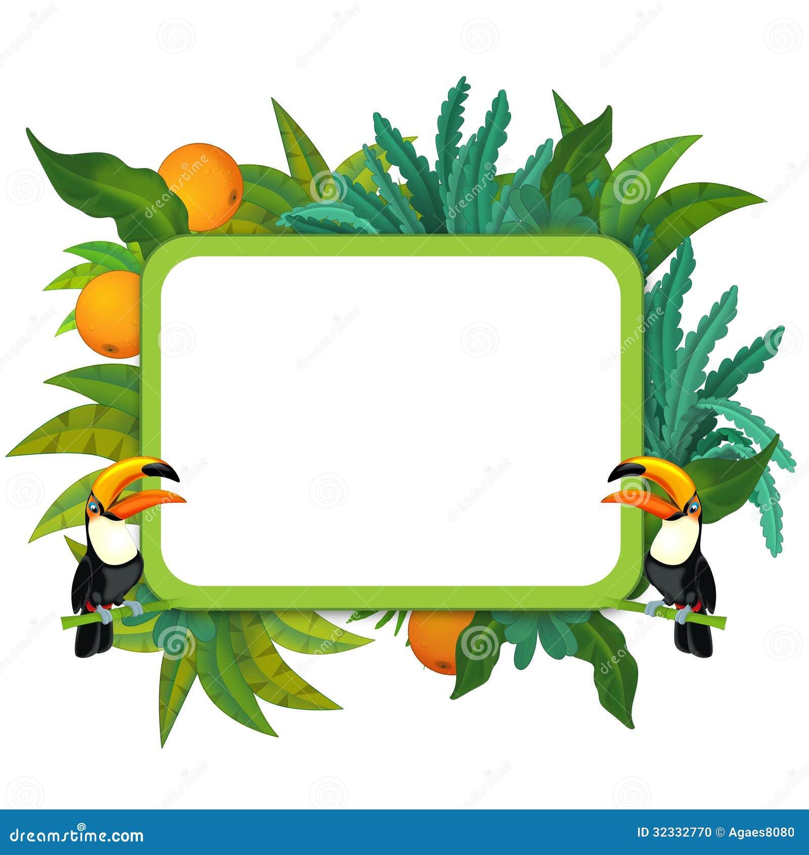 横幅-框架-边界-森林探险队题材-孩子的例证图片