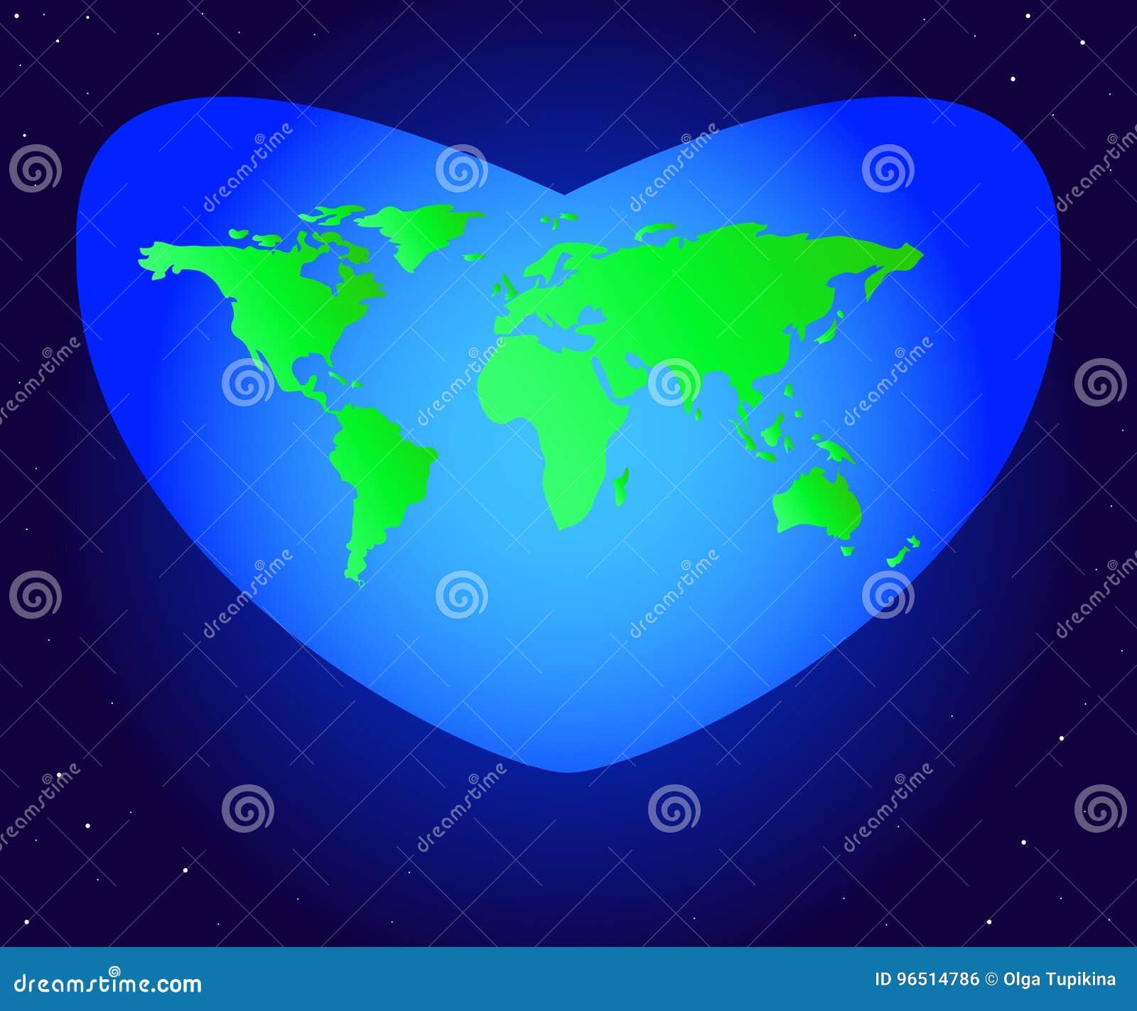 横幅蝴蝶庆祝的逗人喜爱的日环境开花瓢虫映射世界 导航大陆行星地球绿色的例证在美好的蓝色心脏