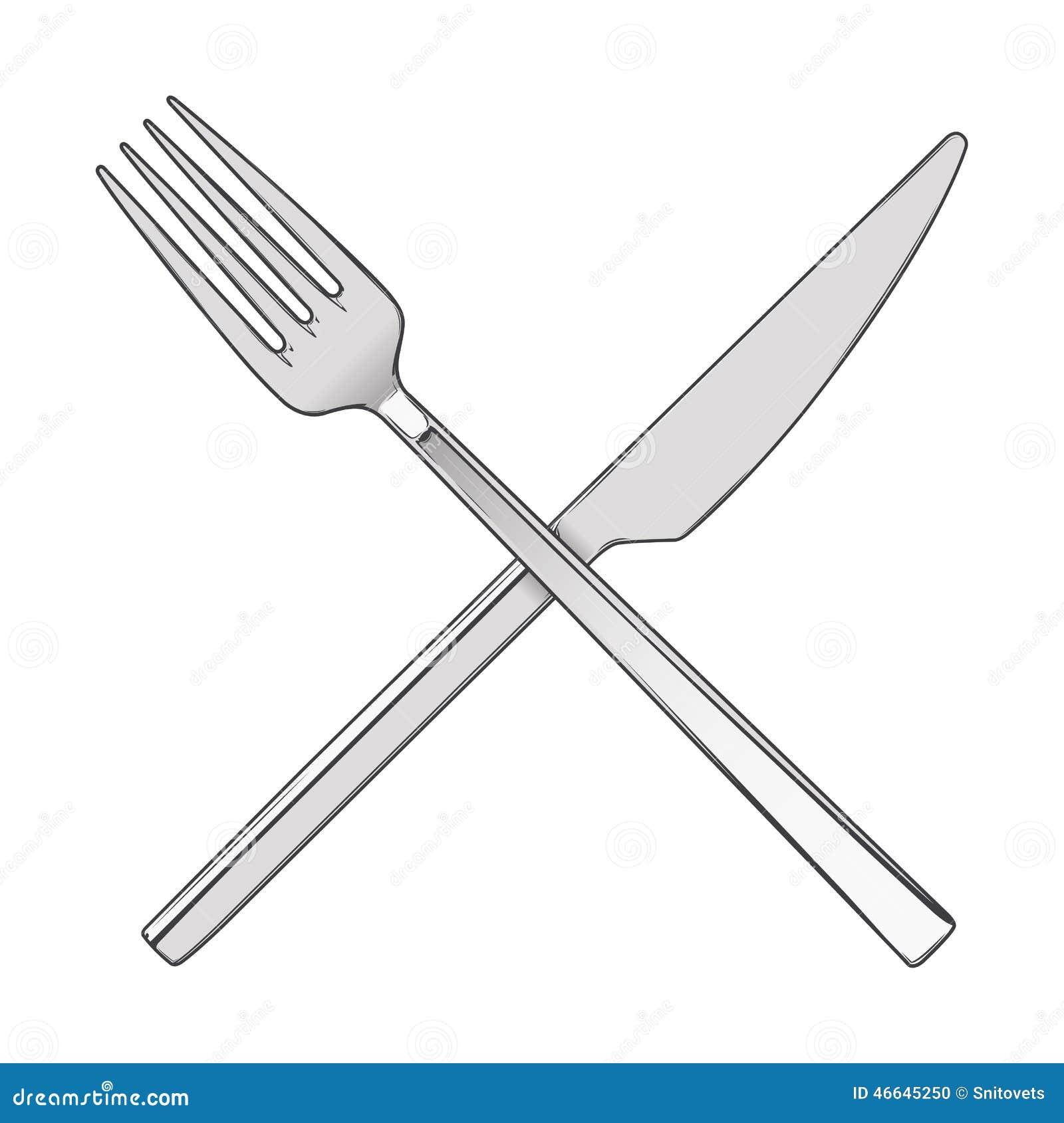 横渡的在白色背景隔绝的叉子和刀子 利器概念 色的手拉的线艺术 减速