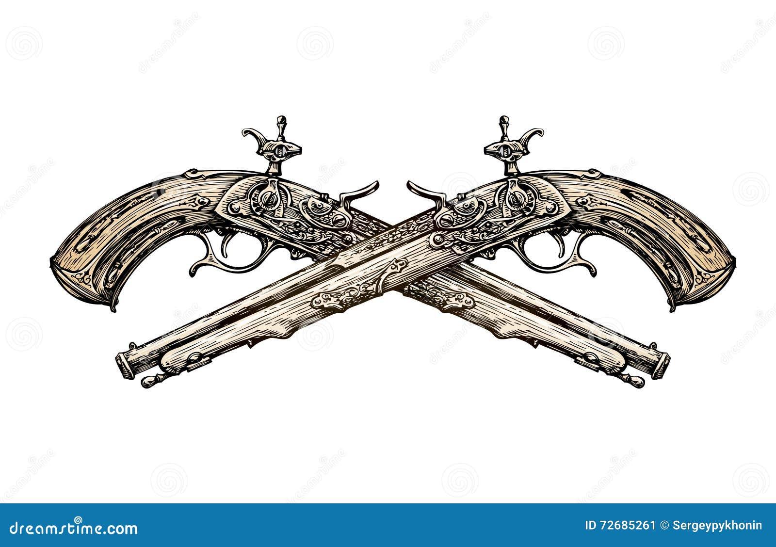 横渡的葡萄酒手枪 手拉的剪影古老武器 决斗 也corel凹道例证向量