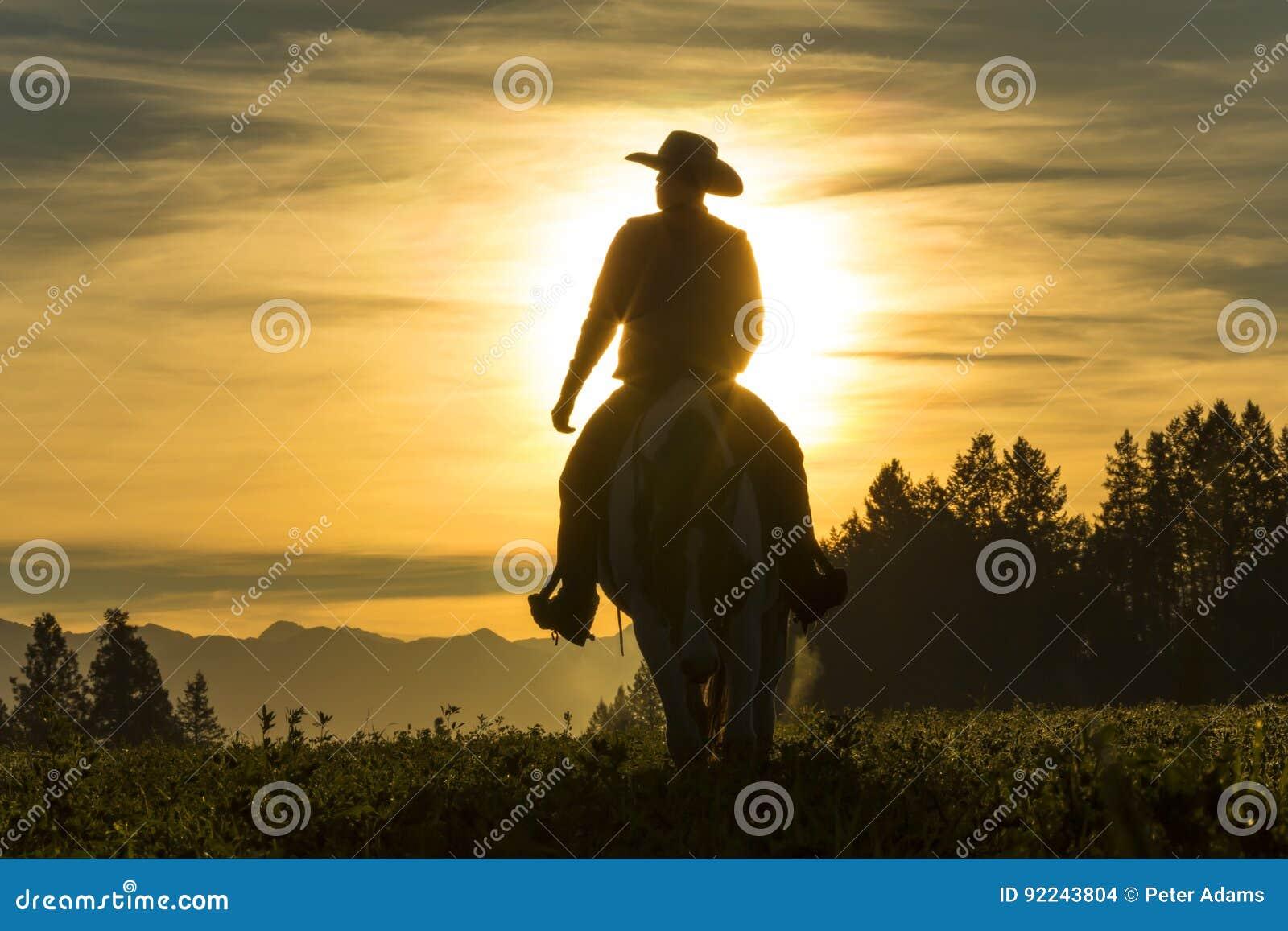 横跨草原的牛仔骑马有山的在背景中