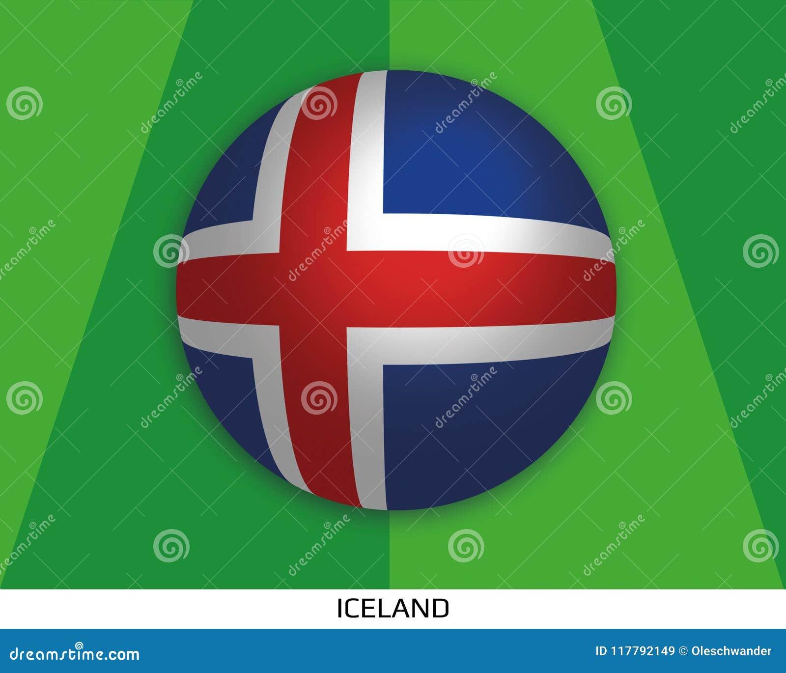 橄榄球与冰岛的旗子的世界冠军做了在周围当足球在一棵使用的草