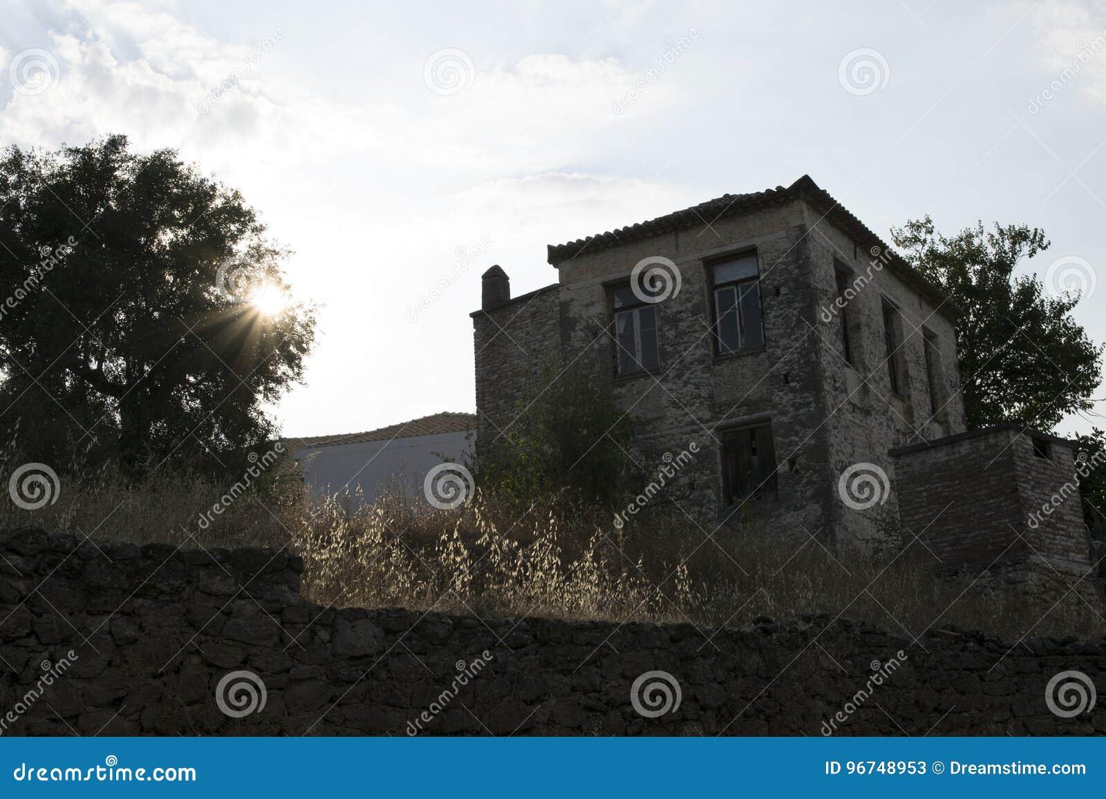 橄榄色的农厂房子卡拉迈,希腊