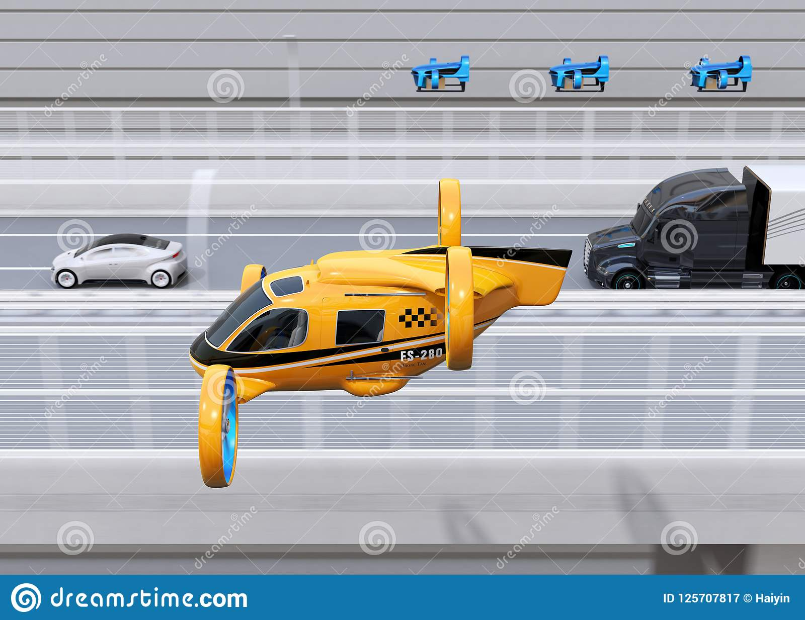 橙色乘客寄生虫出租汽车,交付寄生虫很多飞行与卡车一起的驾驶在高速公路