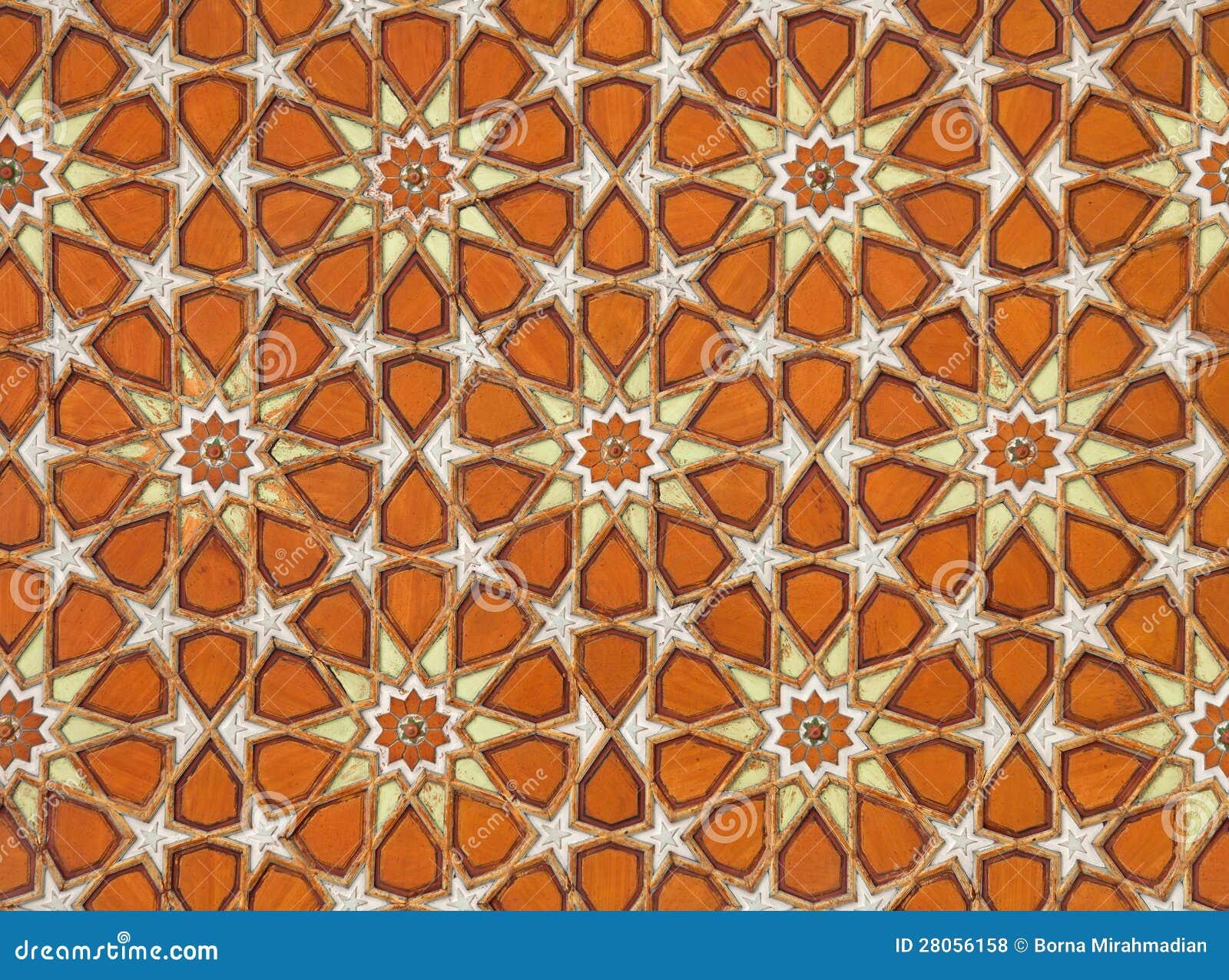 橙色伊斯兰蔓藤花纹模式