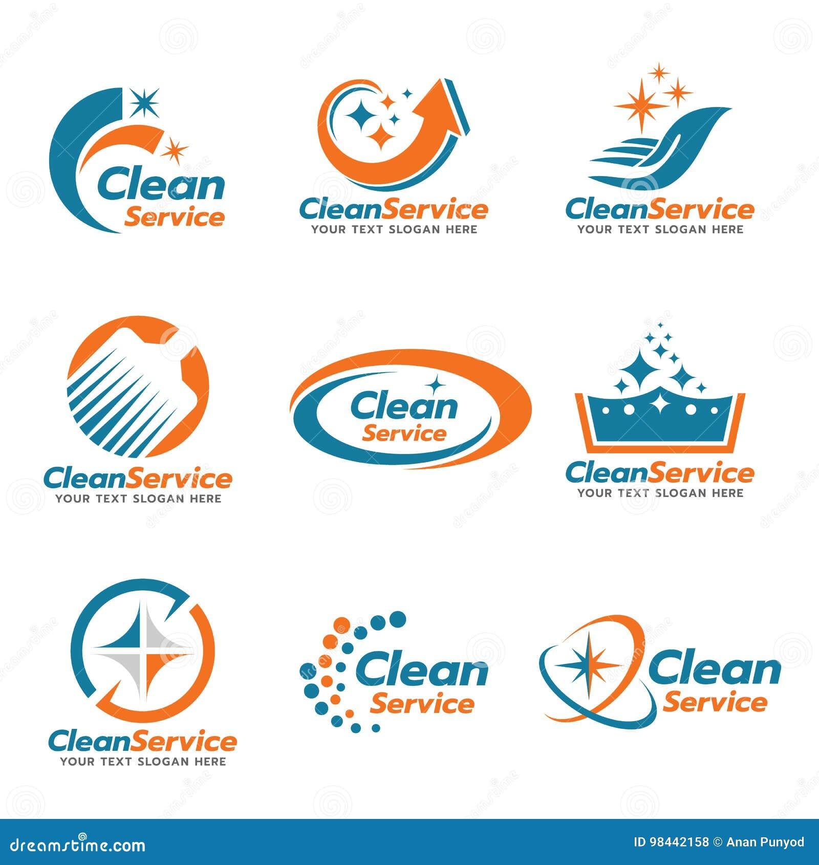 橙色和蓝色干净的服务商标传染媒介布景