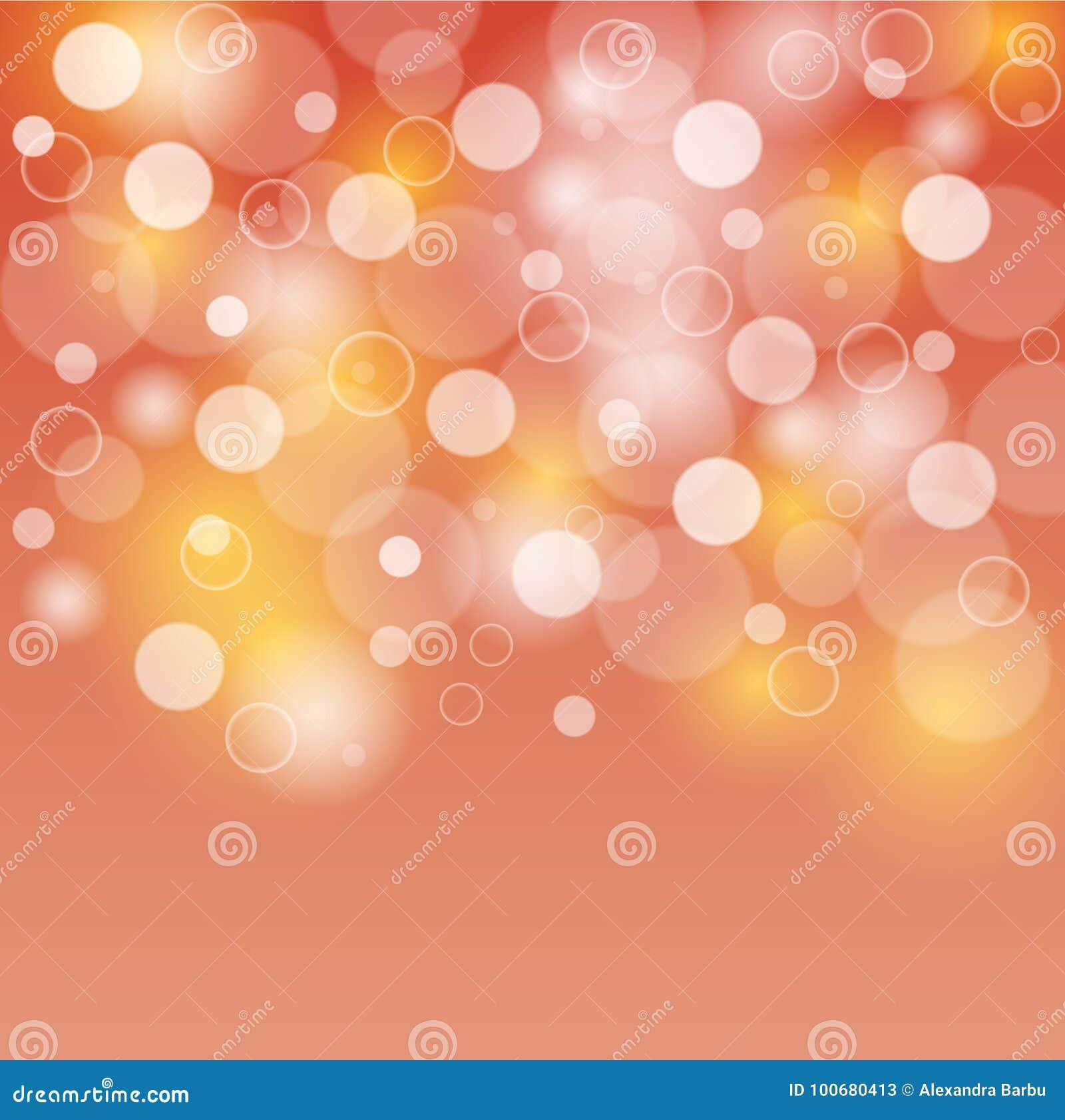 橙色和黄色背景白色泡影或bokeh光