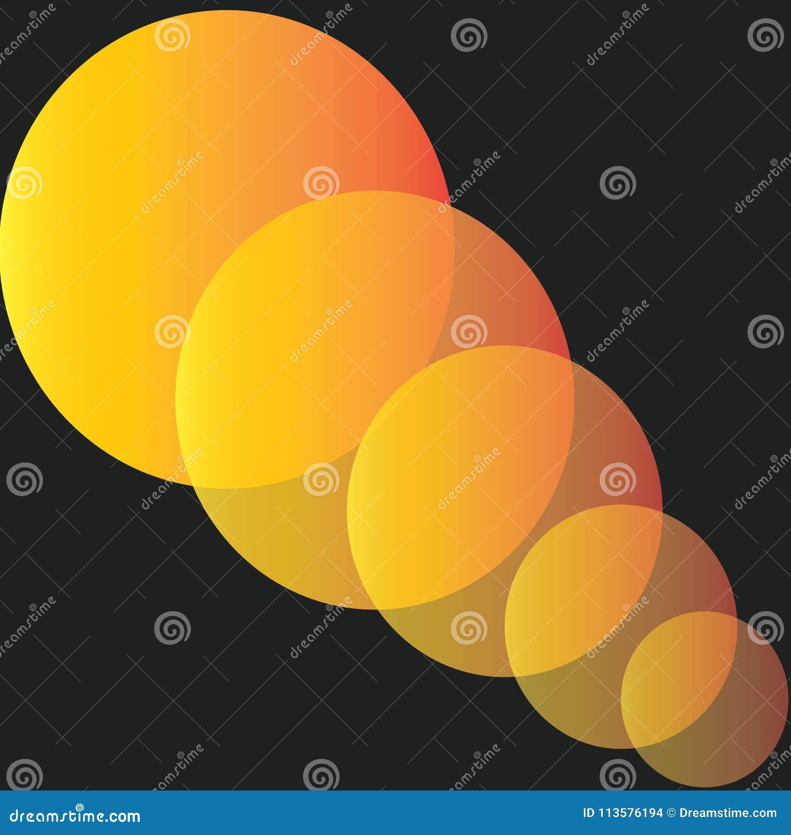 橙色圈子样式切开了反对黑背景