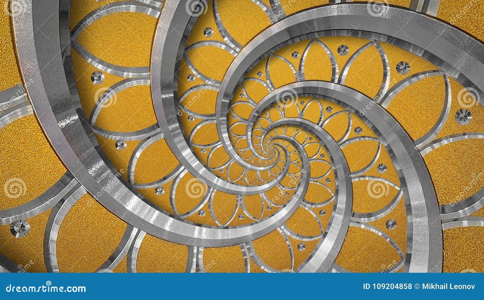 橙色抽象圆的螺旋背景样式分数维 银色金属螺旋橙色装饰装饰品元素 金属纹理