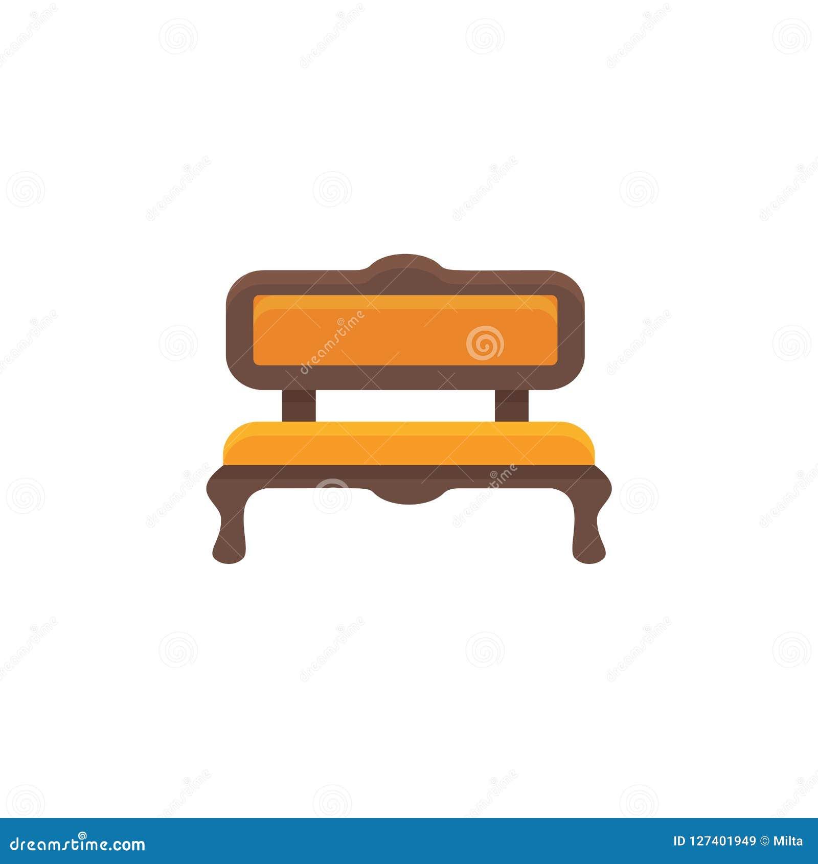 橙色沙发 被缓冲的长凳 也corel凹道例证向量 平的象