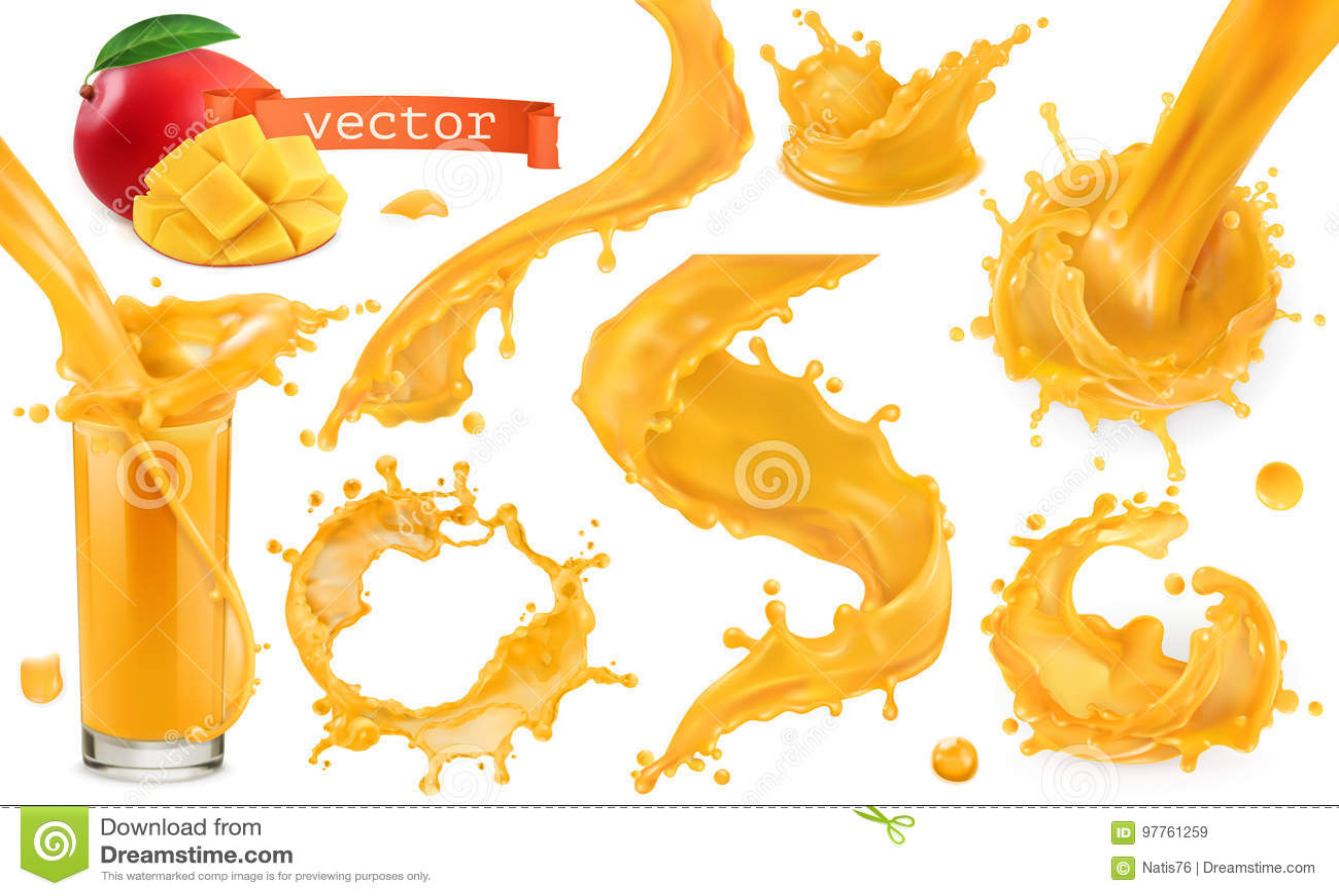 橙色油漆飞溅 芒果,菠萝,木瓜汁 纸板颜色图标图标设置了标签三向量