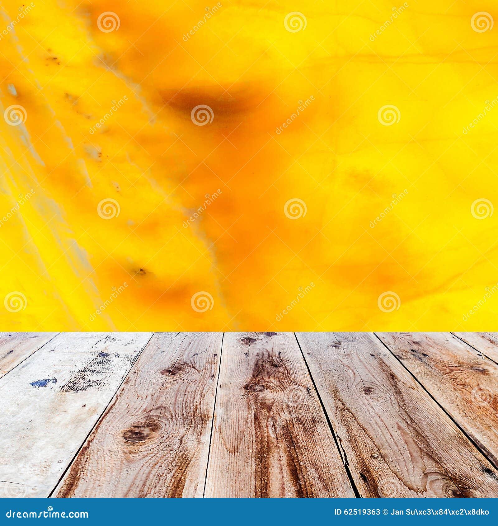 橙色石华背景和木地板