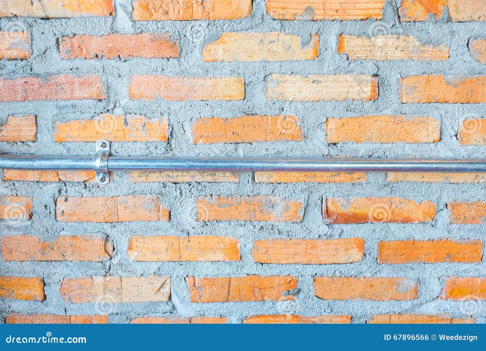 橙色砖墙和混凝土与电子线管, Textur
