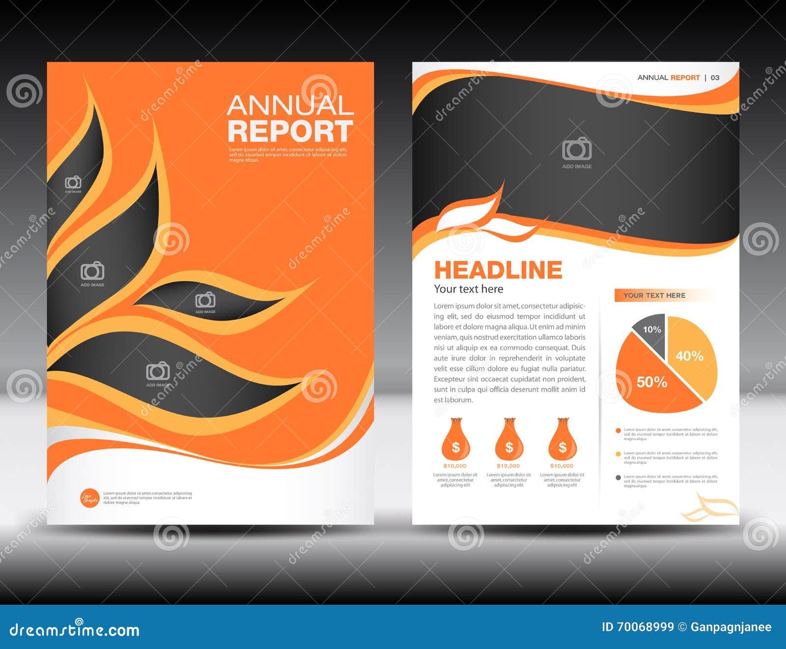 橙色年终报告模板,盖子设计,小册子fl yer,信息