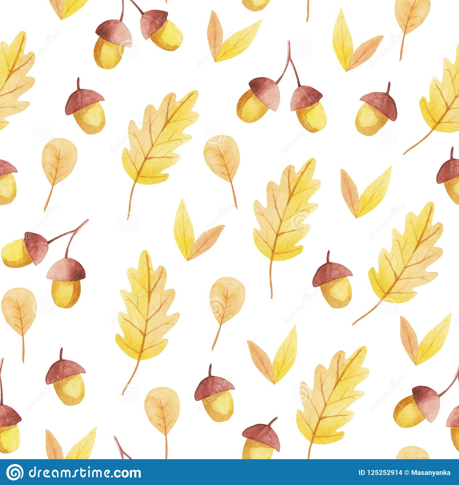 橡子和黄色叶子无缝的样式 秋天震动