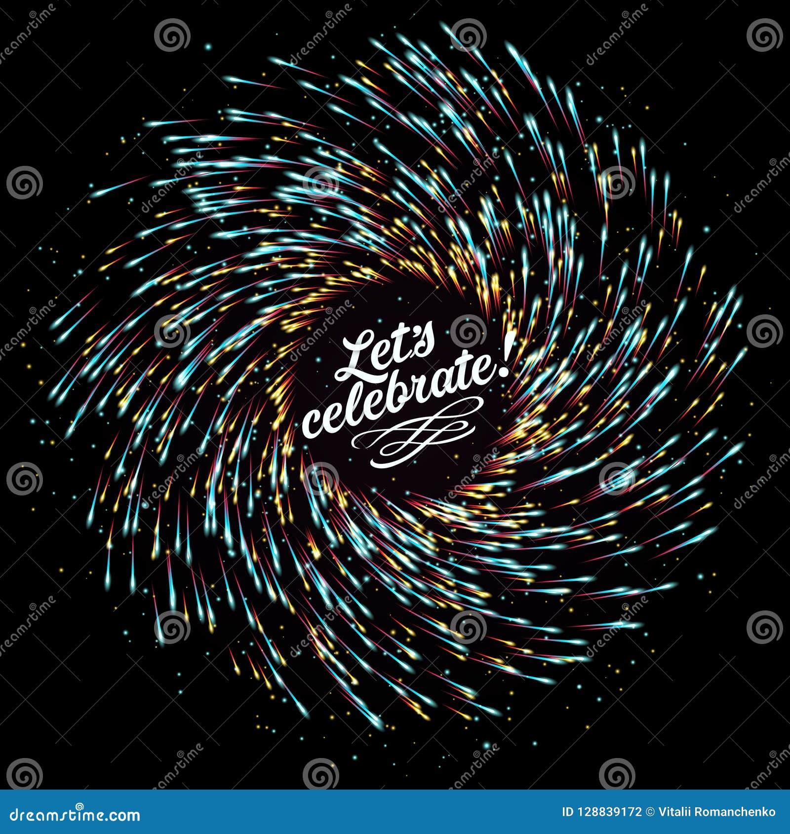 欢乐新年` s致敬 以烟花的形式爆炸的抽象构成在黑暗的背景的 文本的空的安排